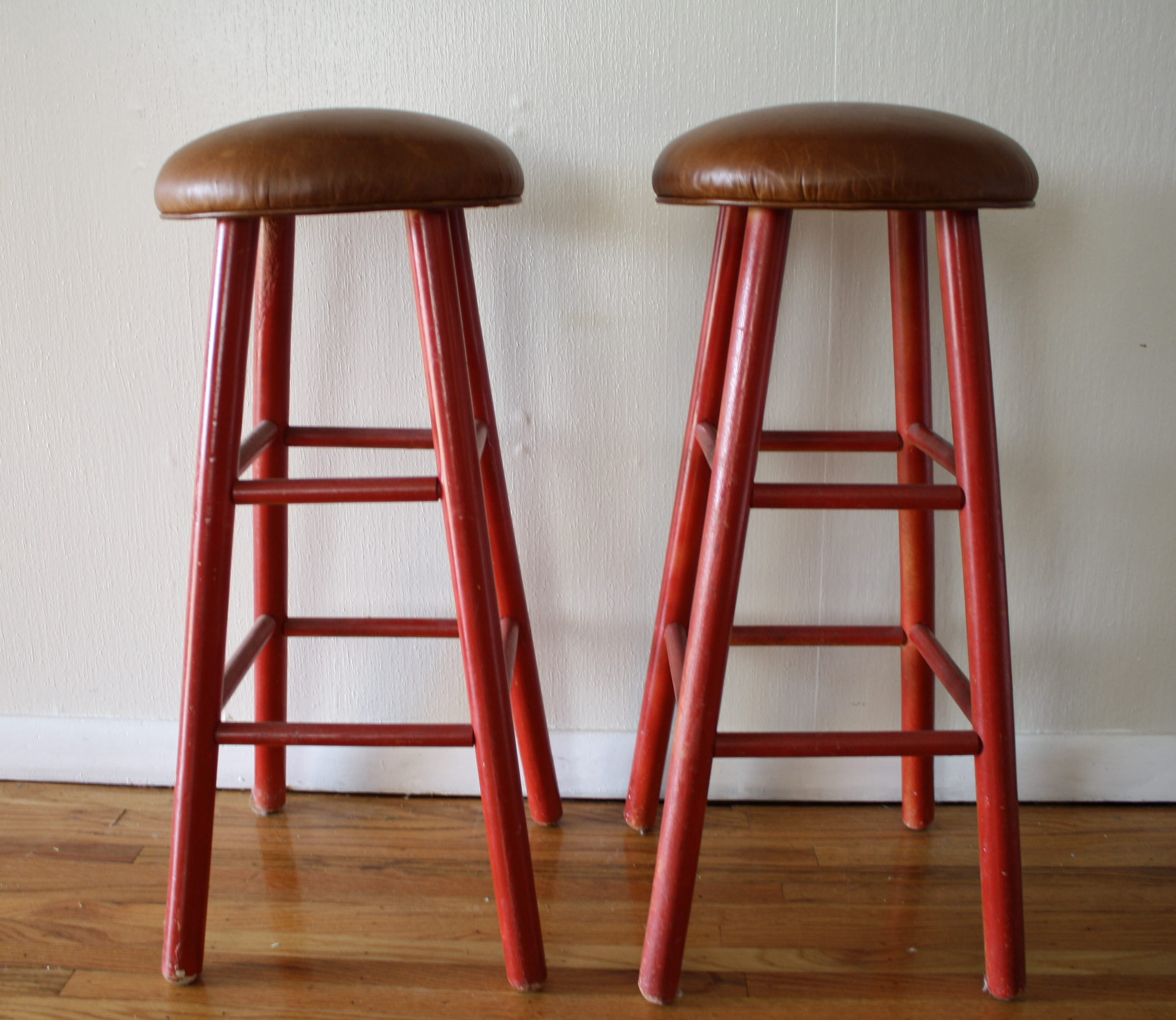 Antique Farm Stools With Soft Brown Leather Seats Picked