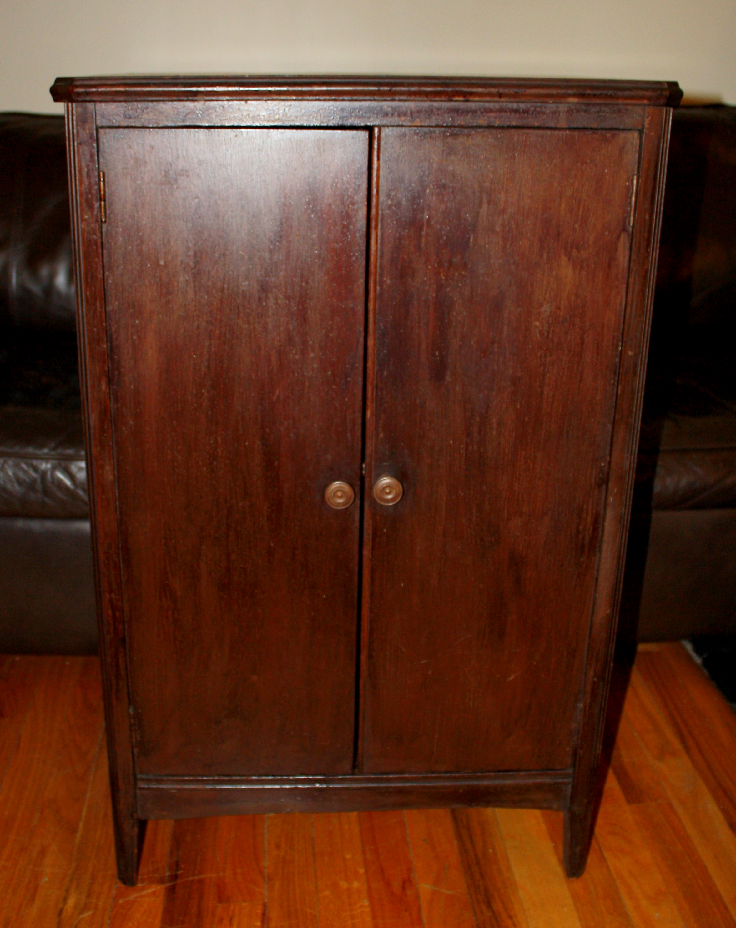 Antique record cabinet solid mahogany picked vintage