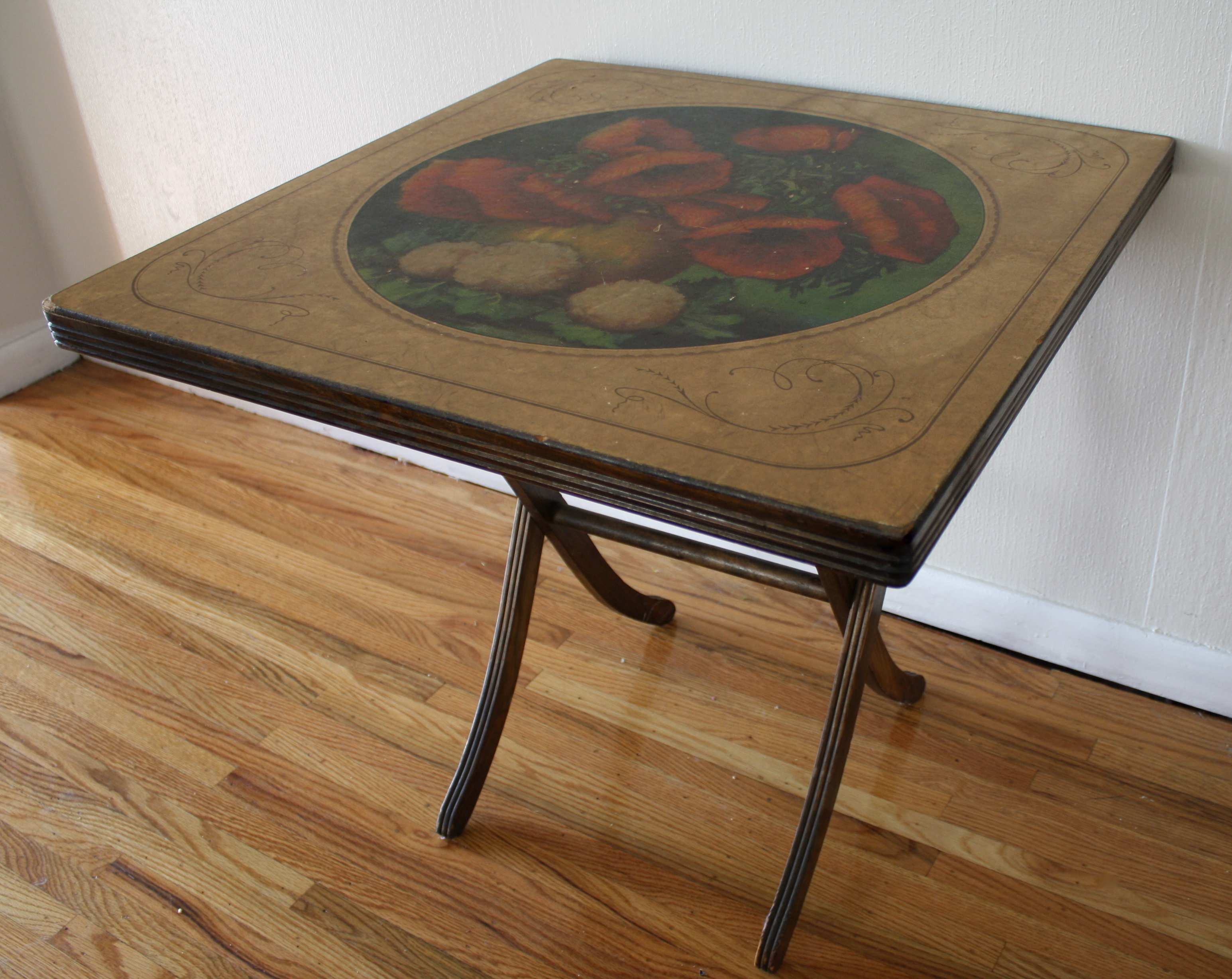 Antique Vintage Painted Folding Card Table