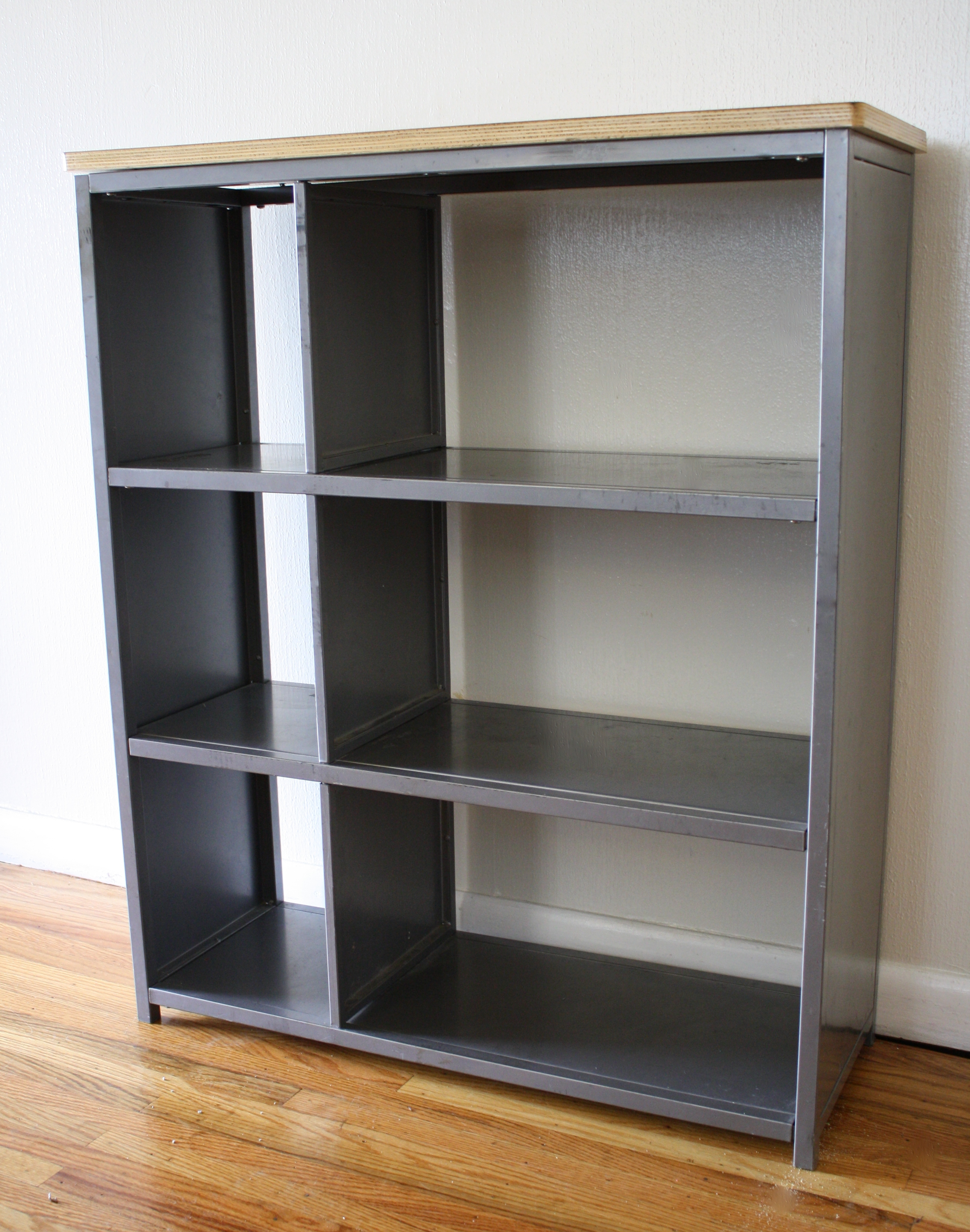 Industrial Metal Bookcase Shelf With Wood Top Picked Vintage