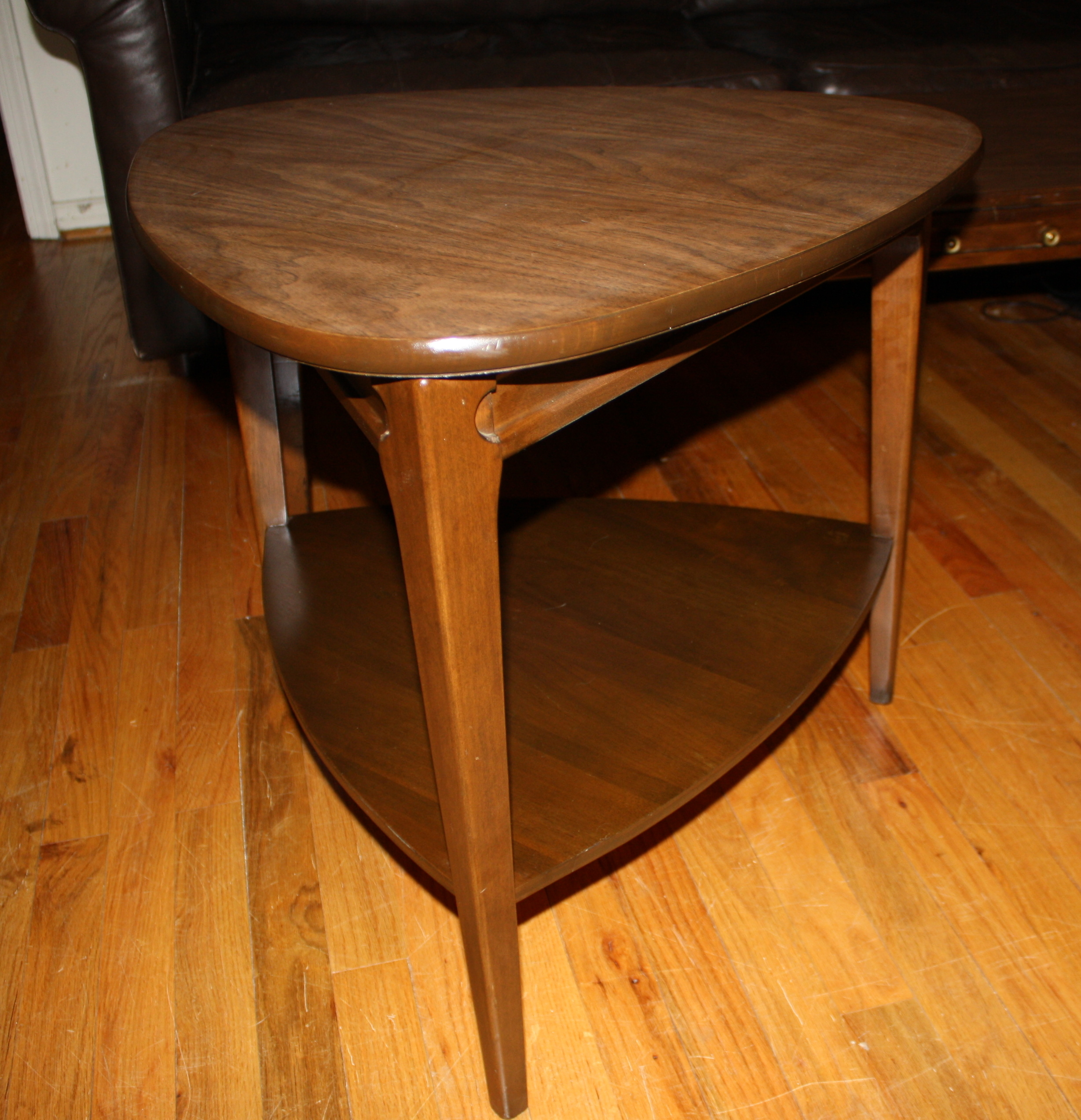 coffee table and triangle side table by mersman picked vintage