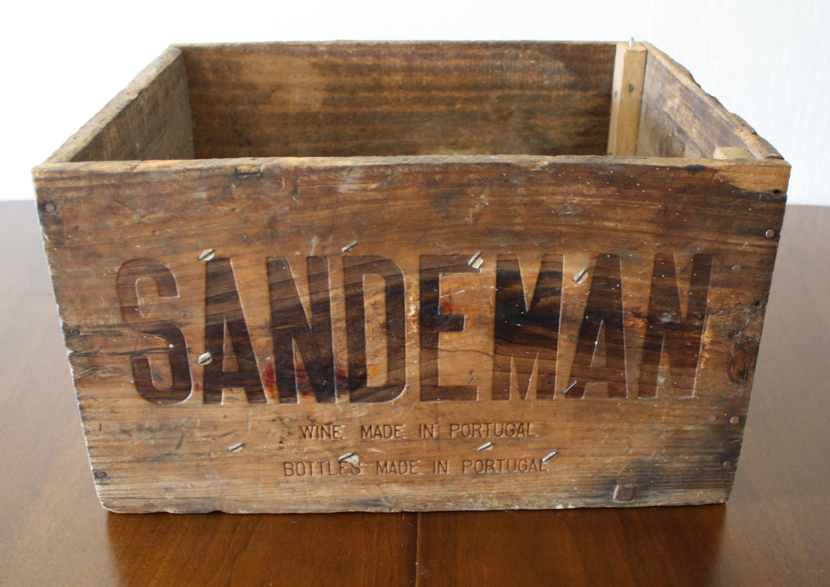 vintage wooden wine crate for sandeman port beautiful