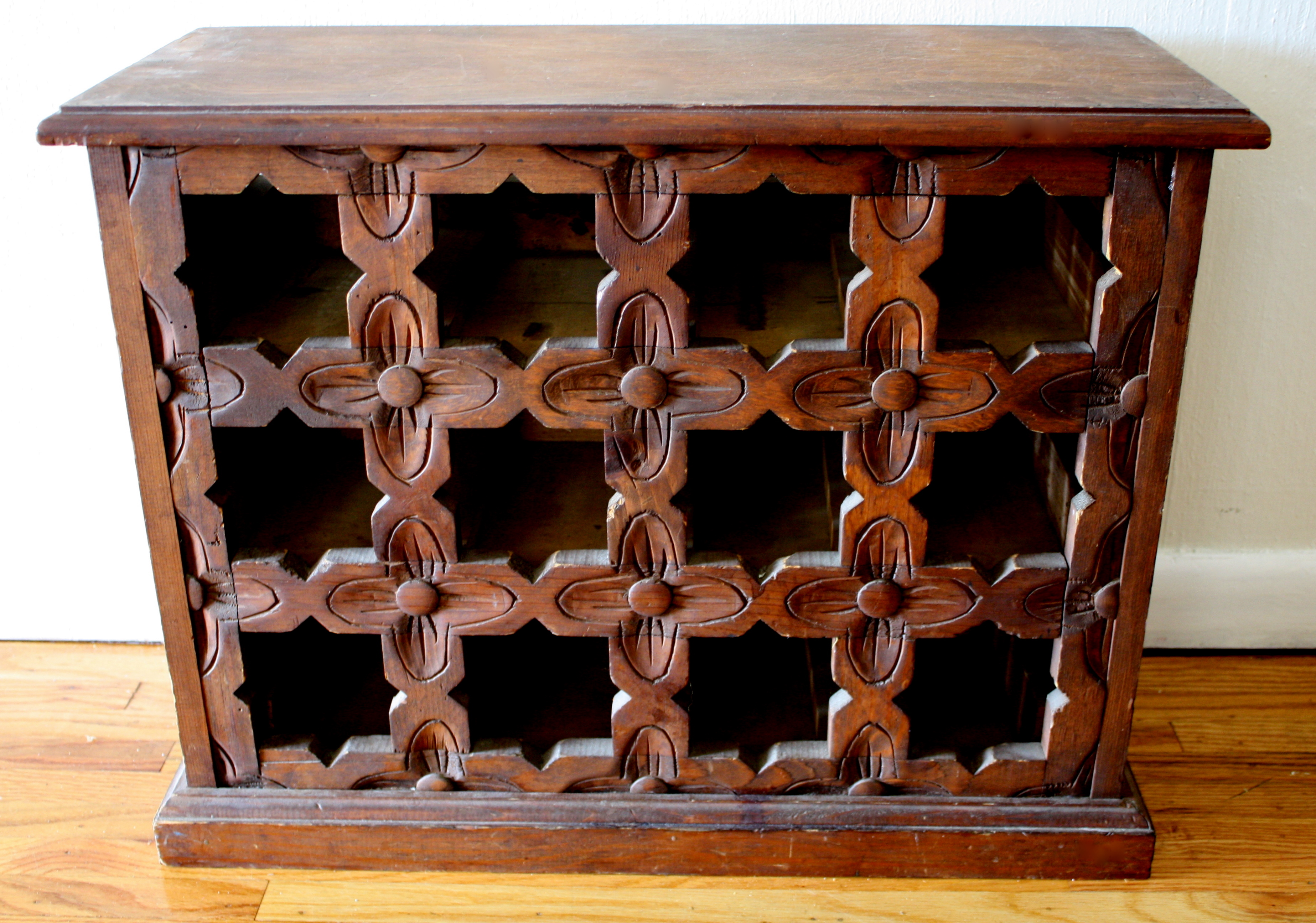 Antique Wooden Racks ~ Antique south american carved wood wine rack pretty