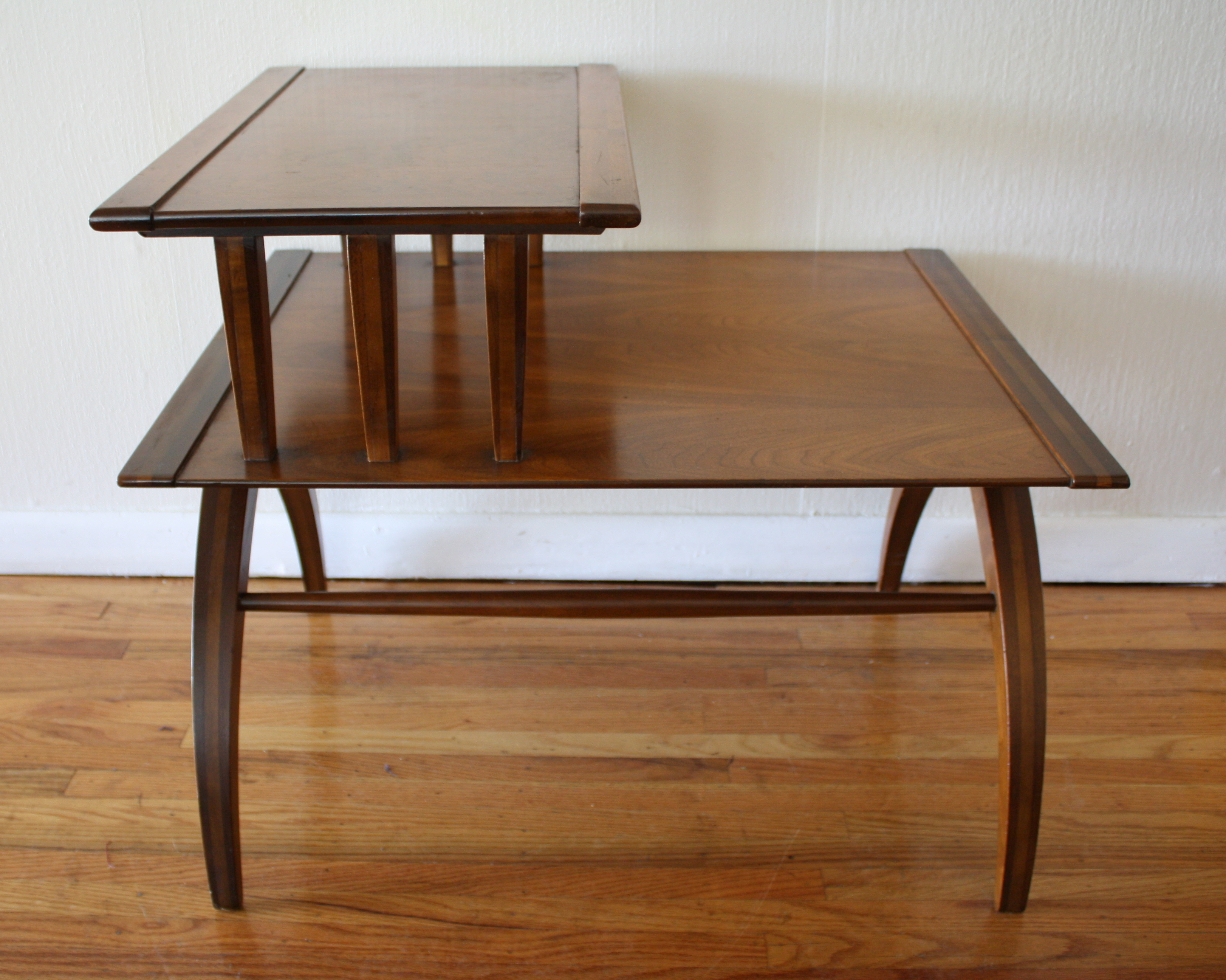 Mid Century Modern Tiered Side Table With Beautiful Arched
