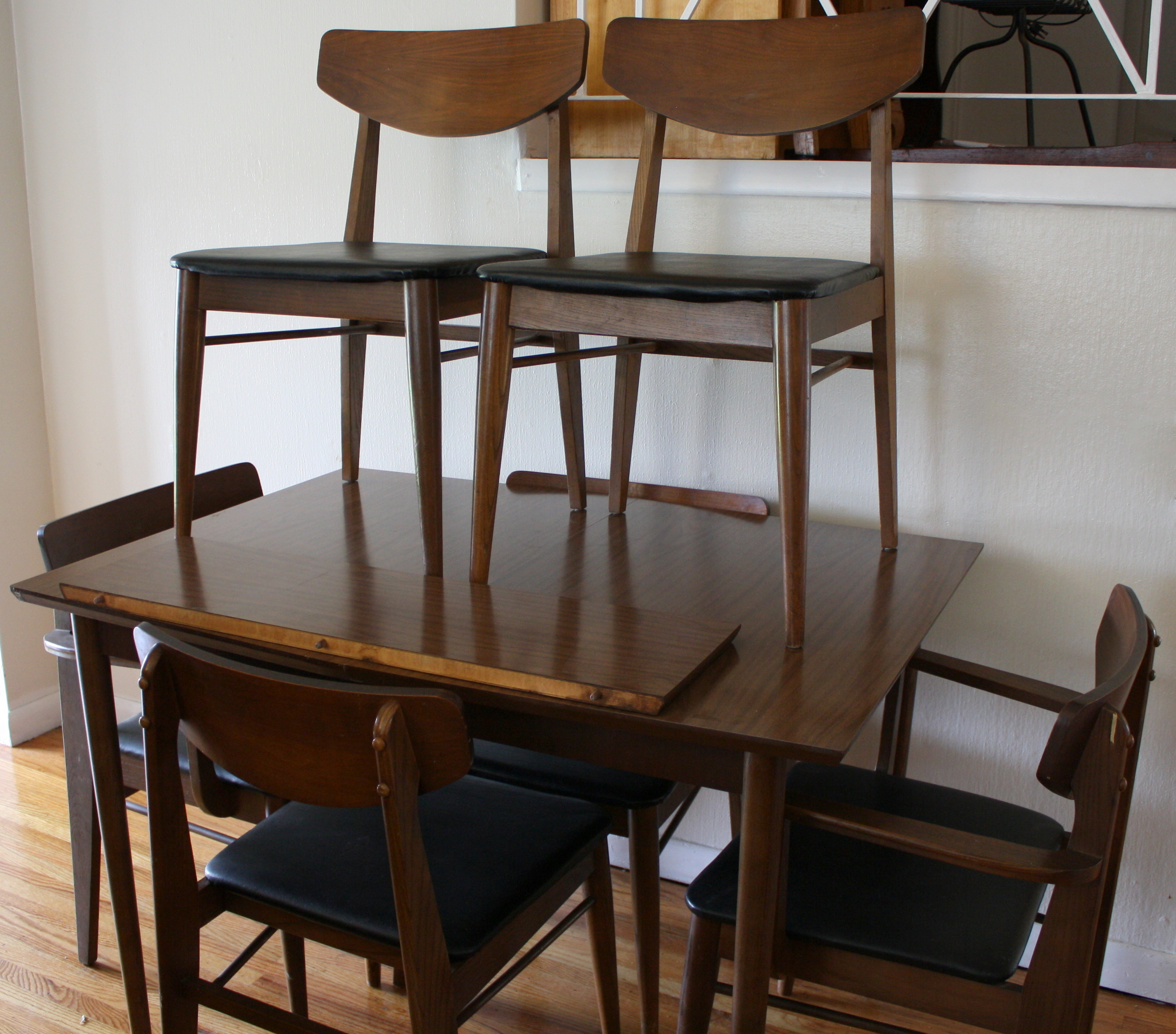 Mid Century Modern Dining Table With Extension Leaf