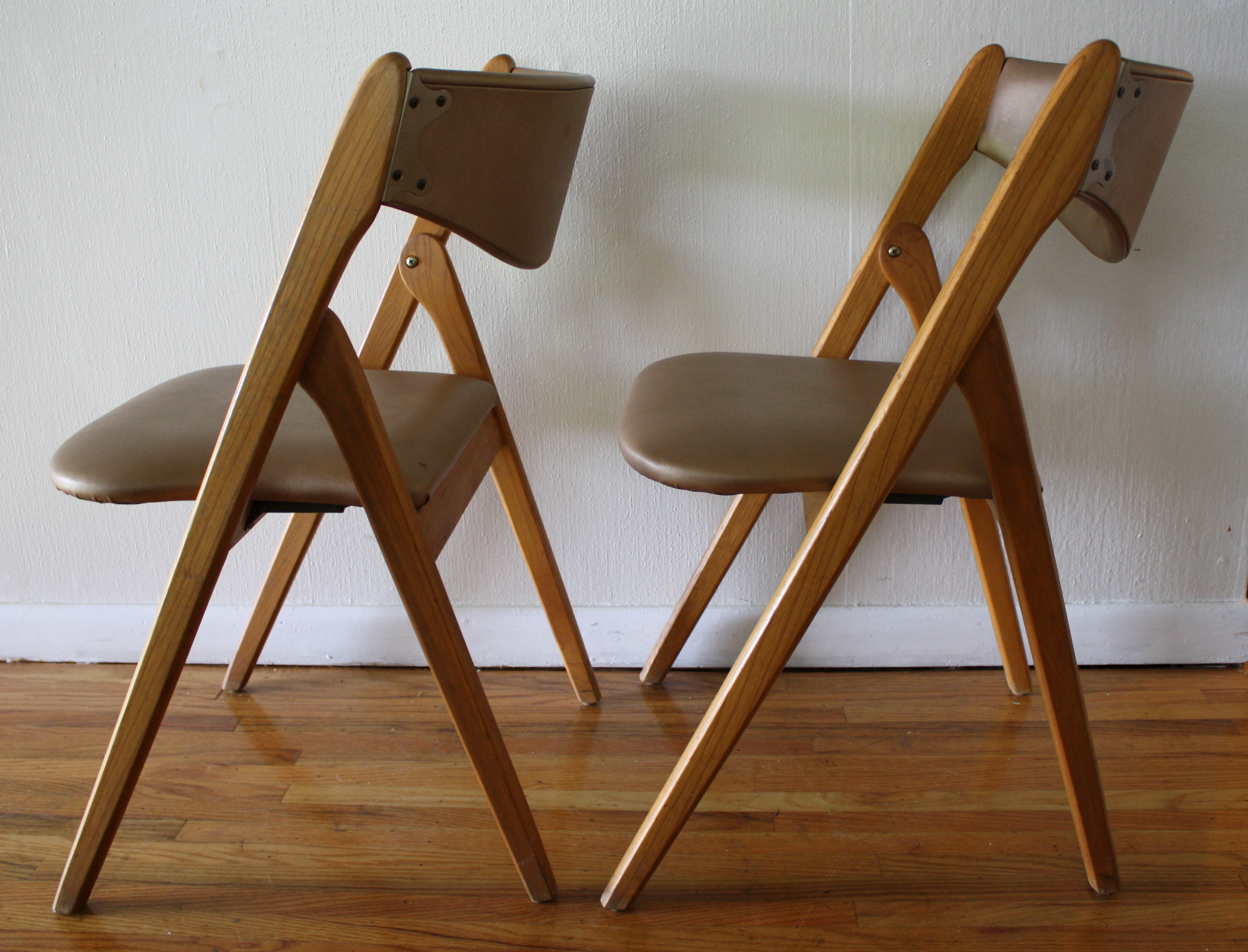 Foldable Wooden Chairs ~ Mid century modern coronet folding chairs picked vintage