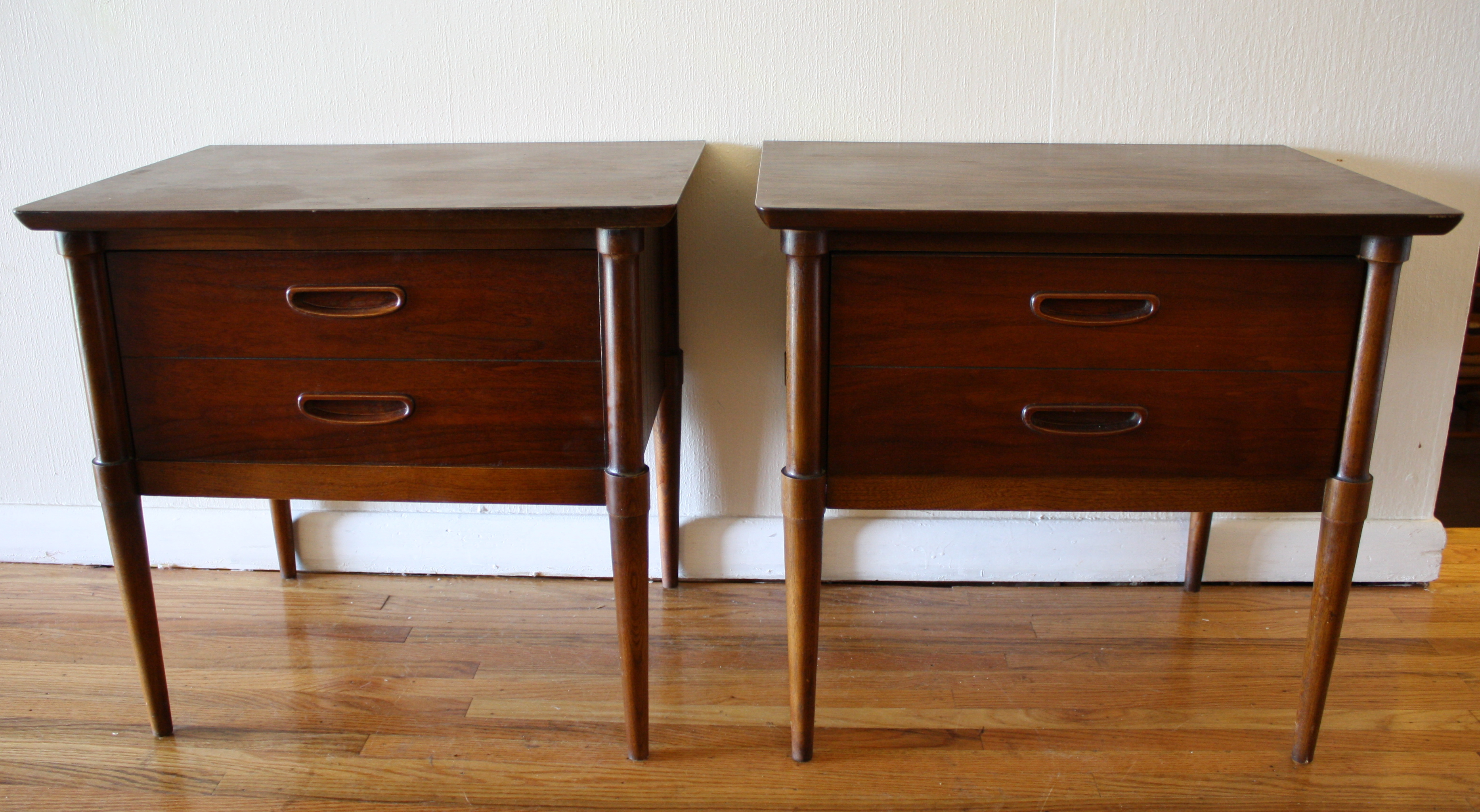 Lane Walnut Side Tables With Formica Tops Picked Vintage