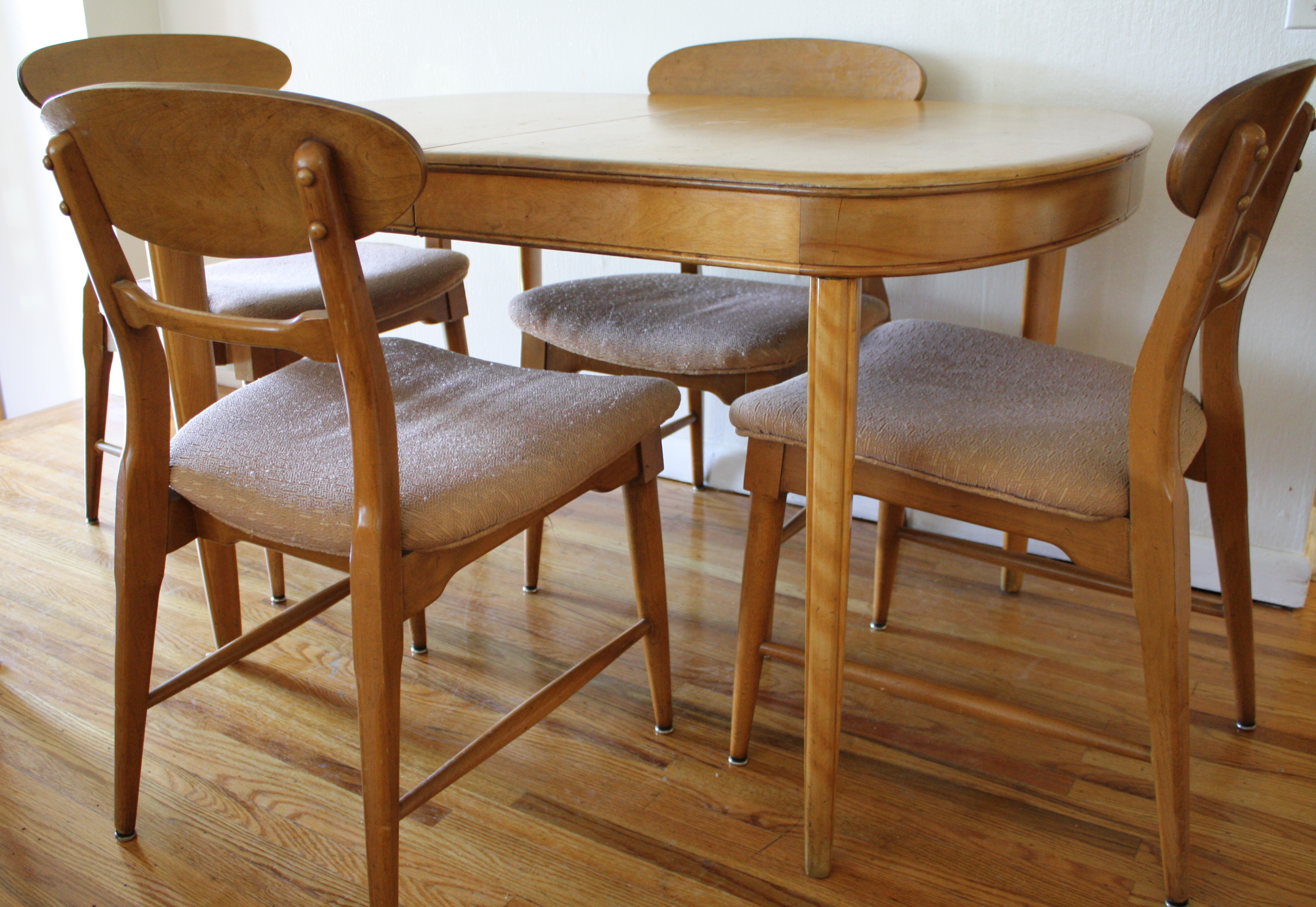 Mid century modern dining set heywood wakefield style for Modern dining table and chairs