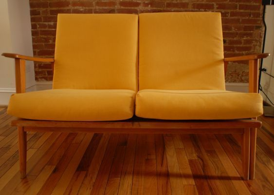 mid century modern loveseat with yellow cushions - Wood Frame Loveseat