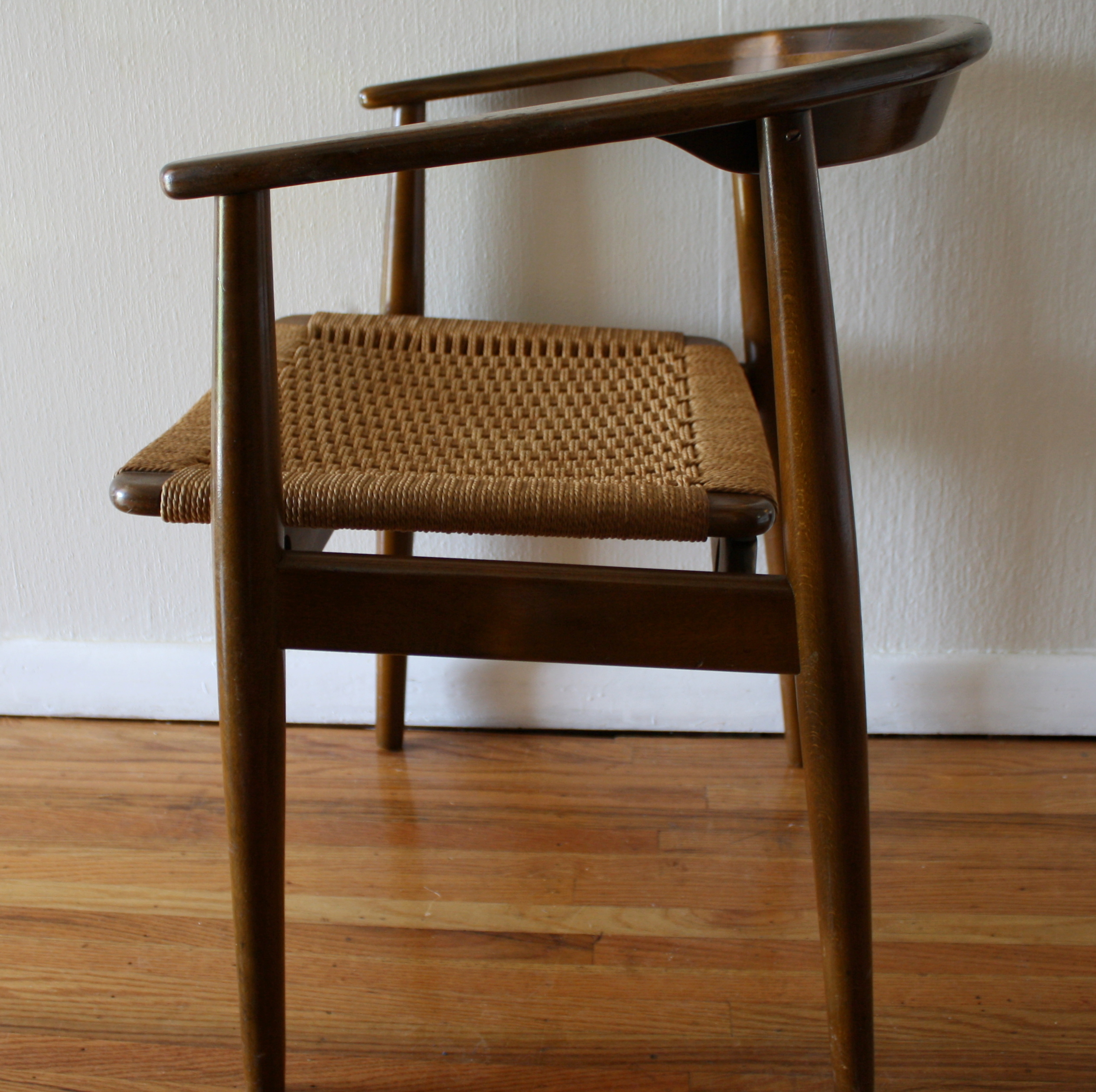 Vintage Danish Chair with Woven Rush Seat