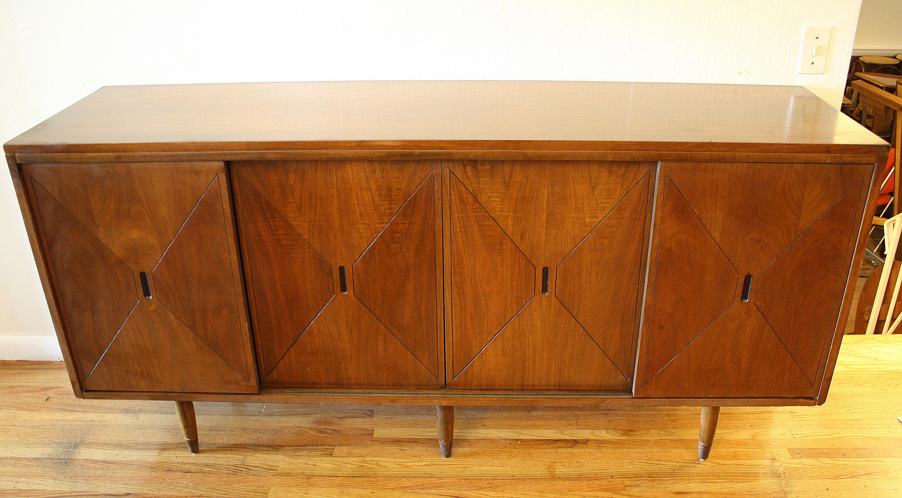 Mid Century Modern Sliding Door Credenza | Picked Vintage