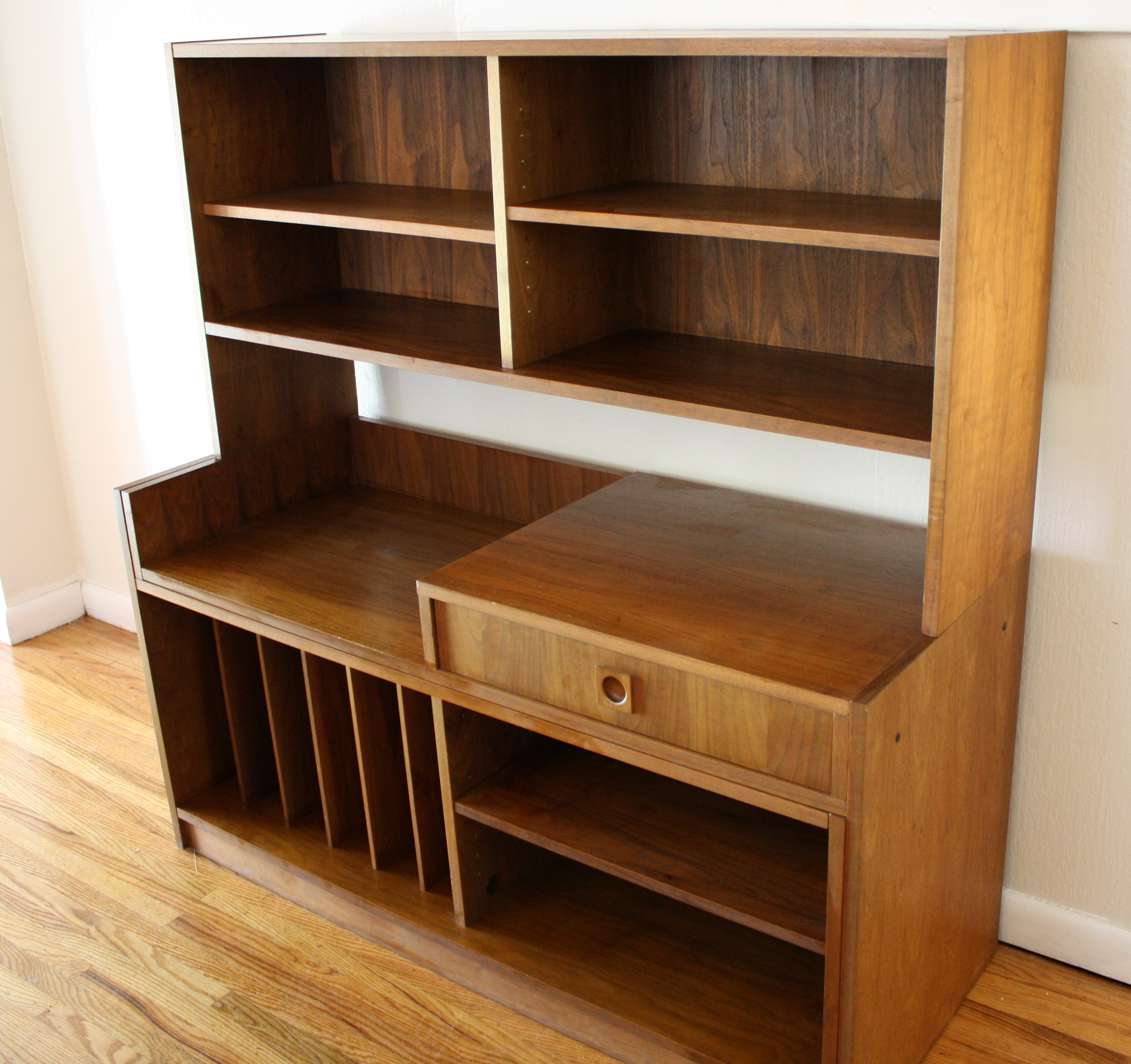 Mid Century Modern Expanding Media Bookcase Desk Unit