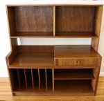 Mcm desk bookcase expandable console with record file slots