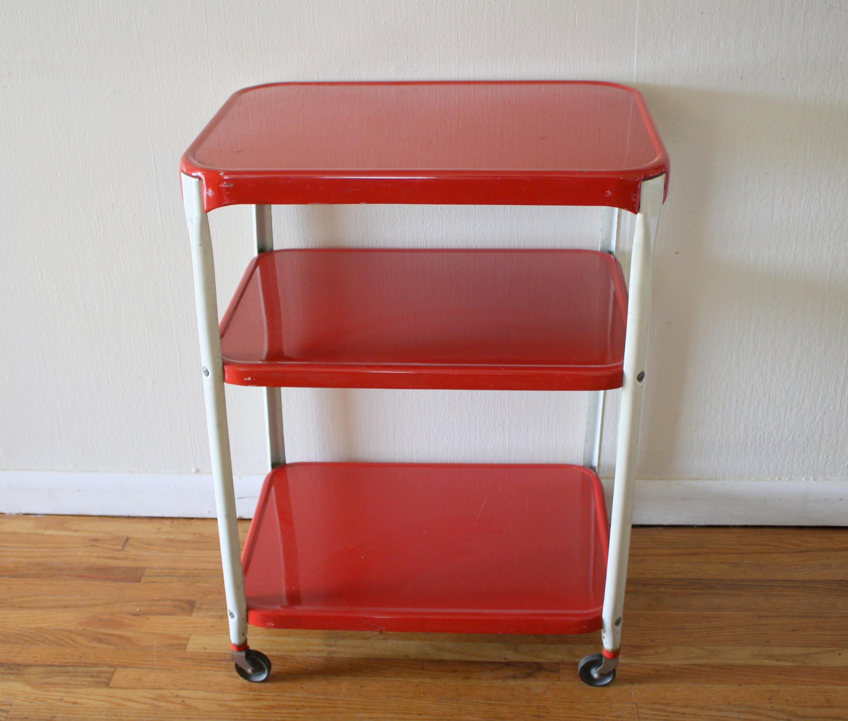 Vintage Metal Kitchen Cart Retro 3 Tier Shelf Metal Carts Picked Vintage