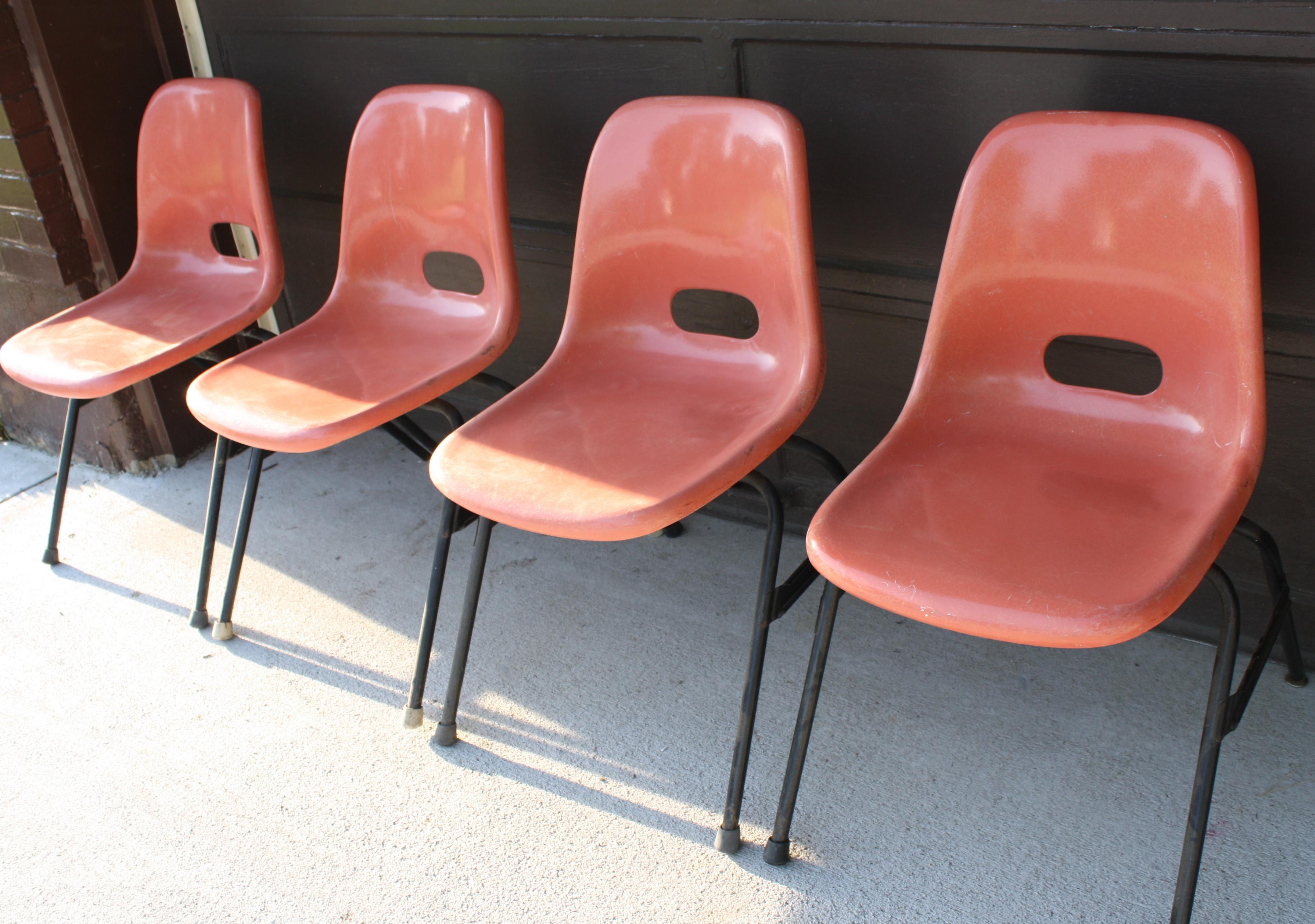 Mid Century Modern Fiberglass Chairs Krueger Picked