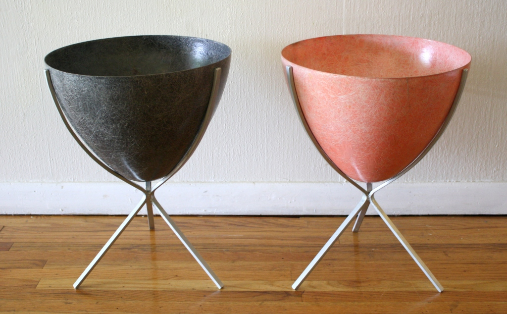 Mid Century Modern Eames Style Fiberglass Bullet Planters ...