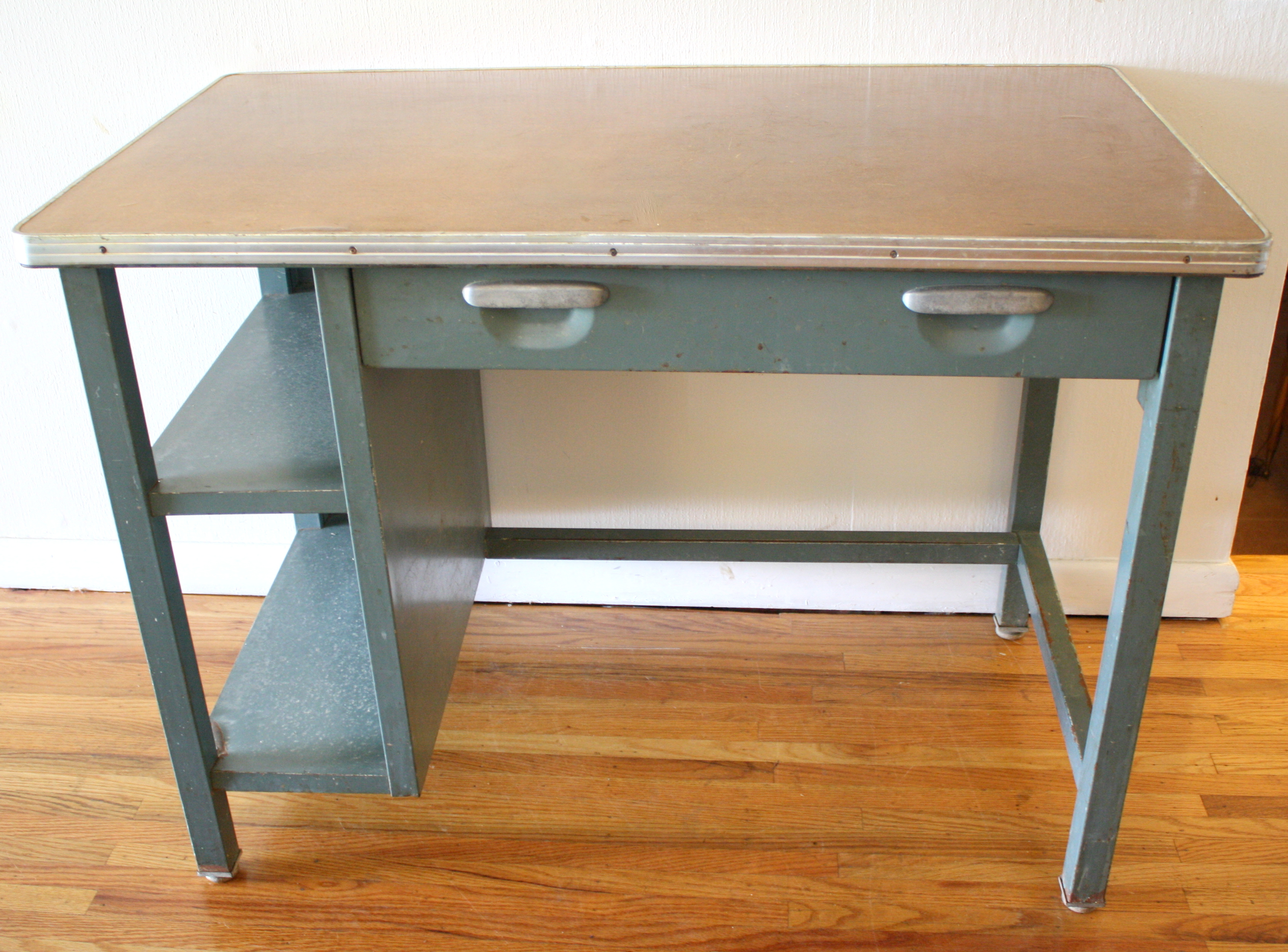 Industrial Steel Desk With Built In Shelves Hard Mfg Co