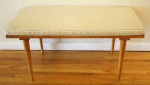 mcm slatted bench with white cushion 2