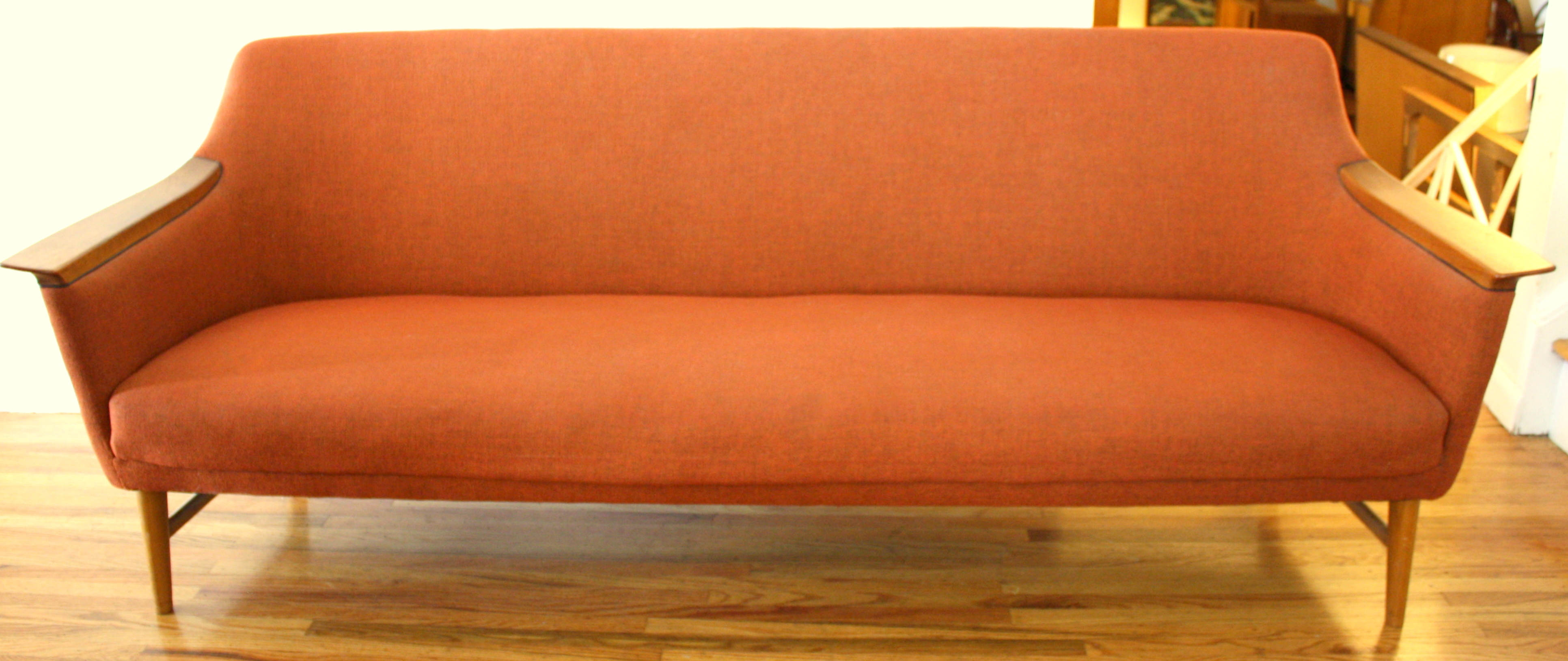 Mid Century Modern Couch with Wood Accented Arms | Picked Vintage