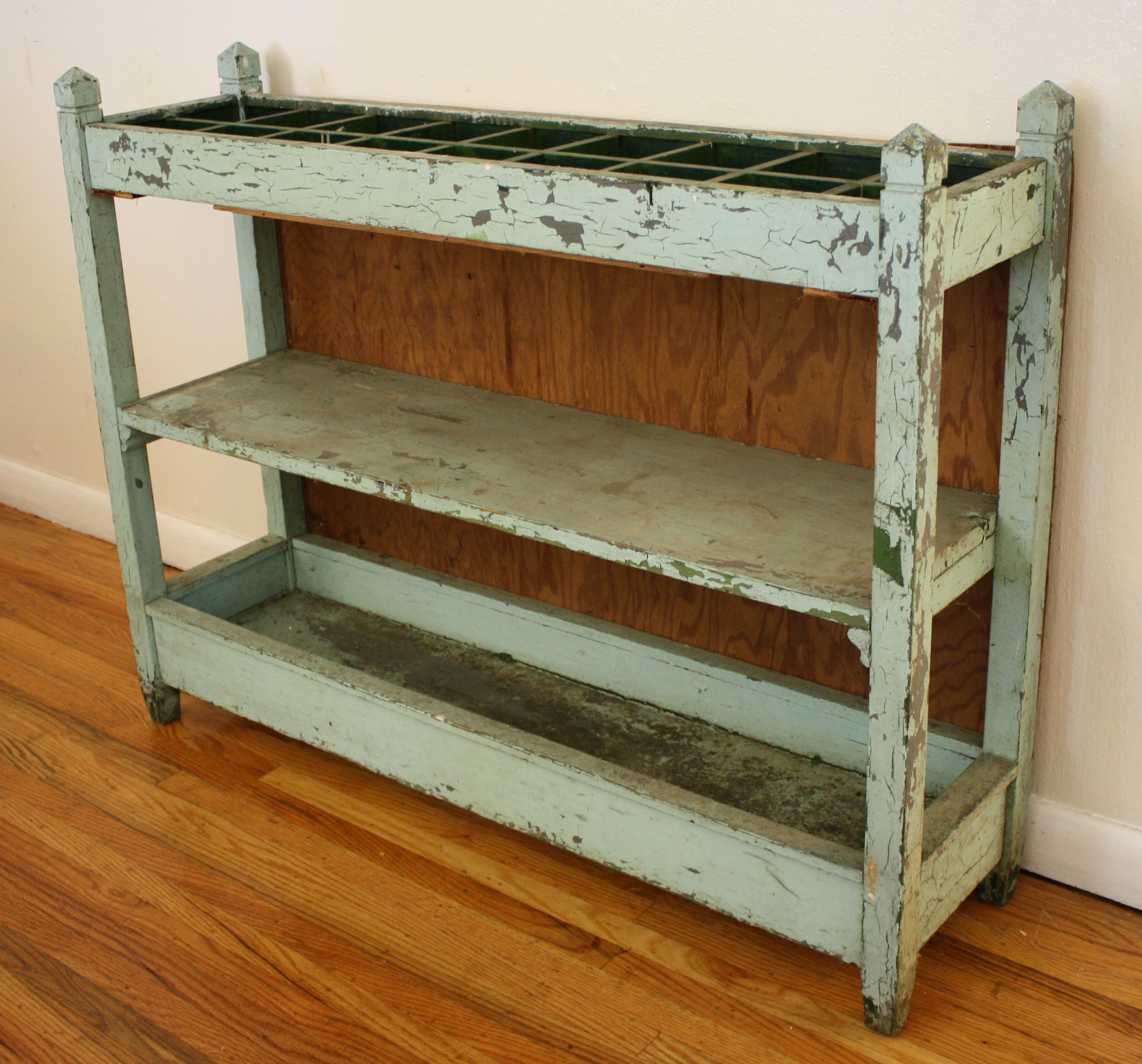 Shabby Chic Kitchen Shelves: Shabby Chic Turquoise Shelf With Square Compartments