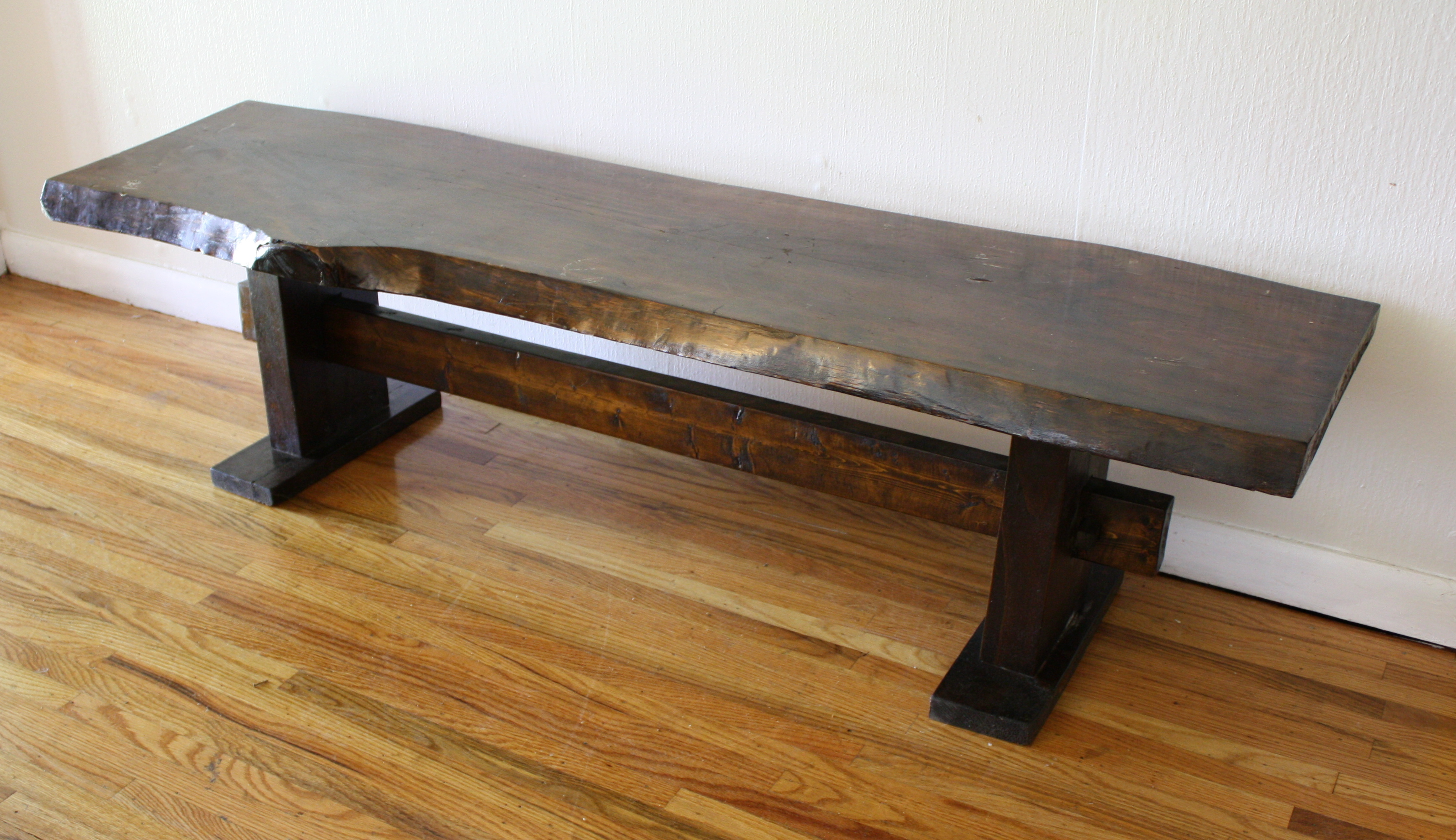 Antique Rustic Wood Slab Bench Picked Vintage