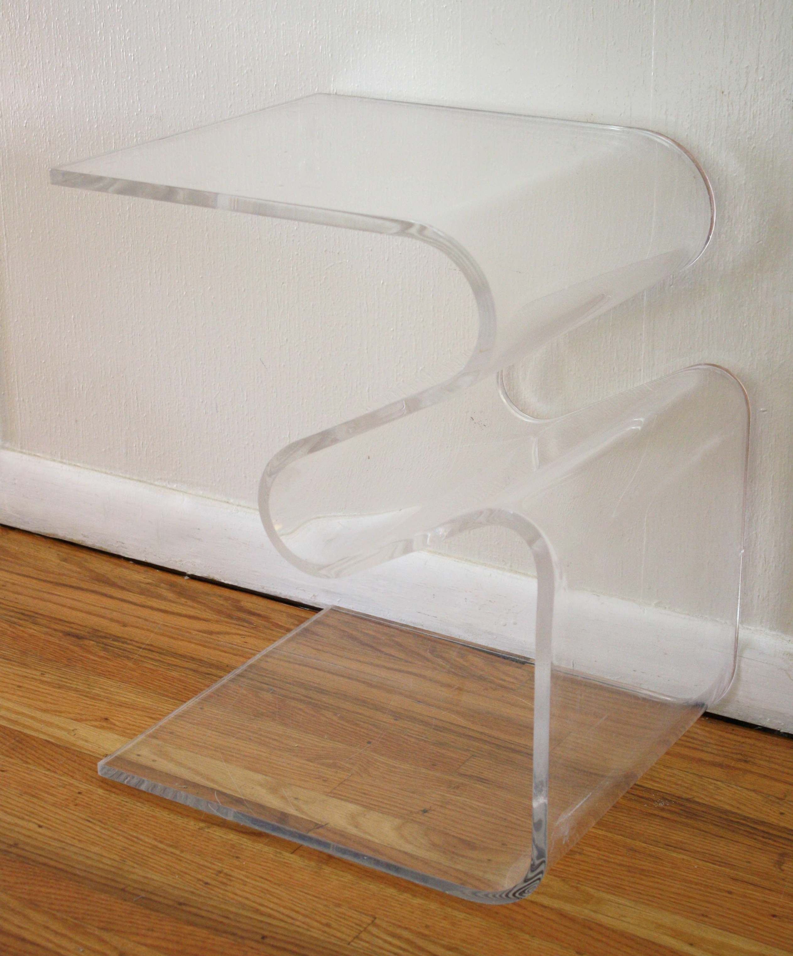 Mid Century Modern Lucite Coffee & Side Tables With Built