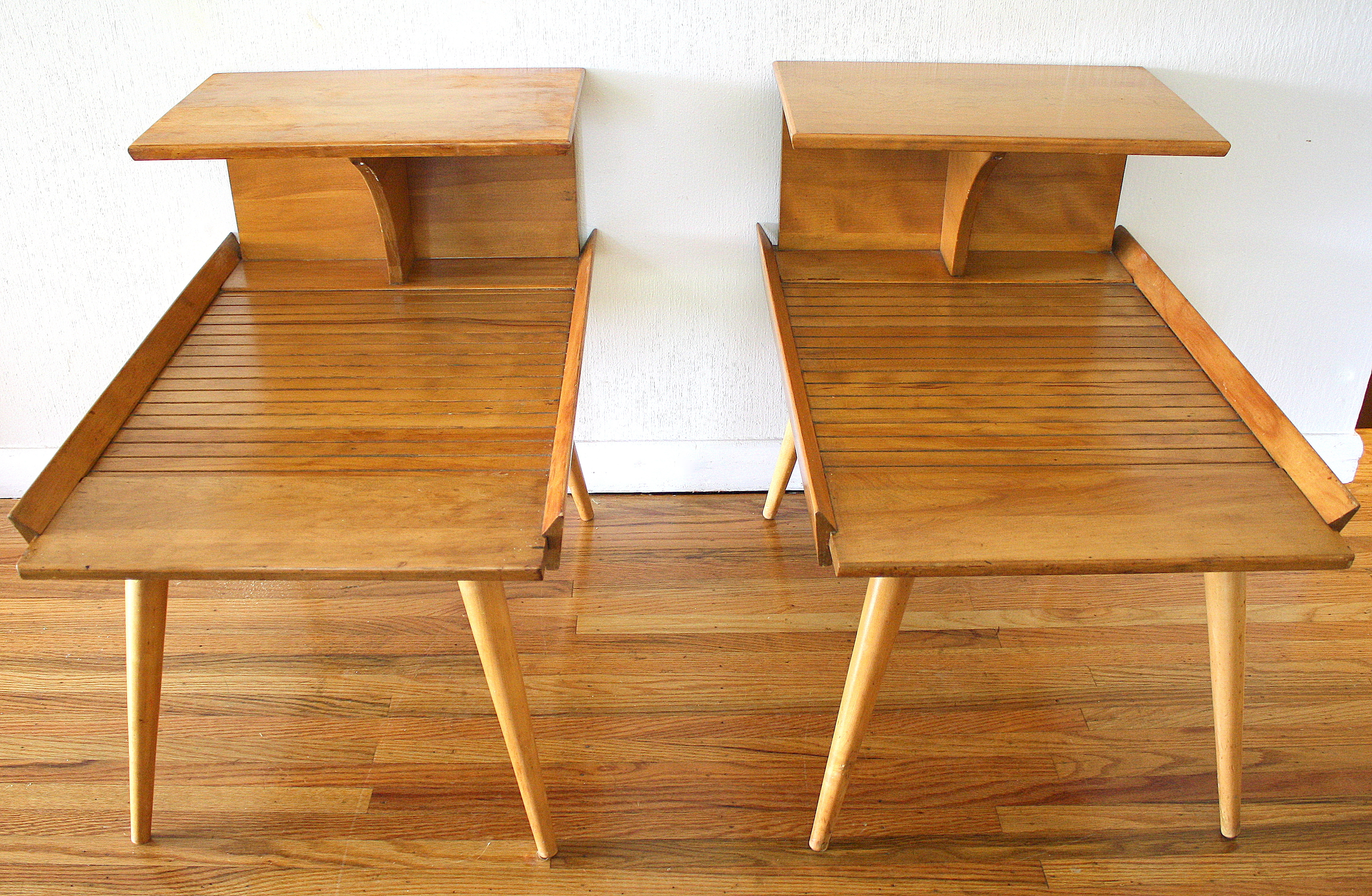 Mid Century Modern Two Tiered Side Tables By Baumritter