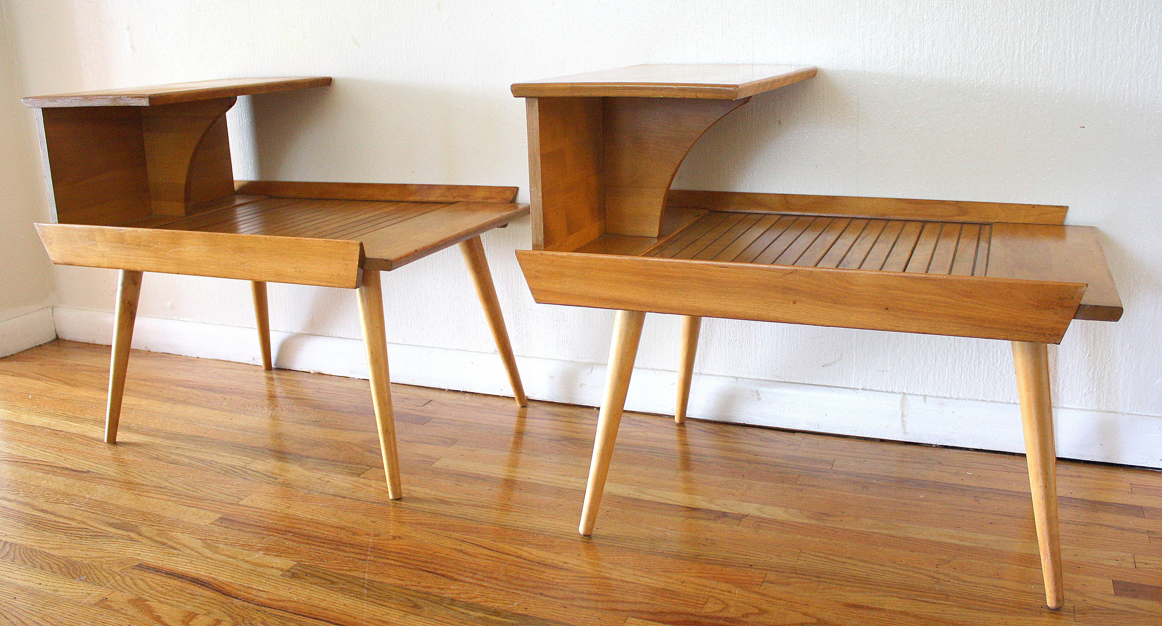 Mid Century Modern Two Tiered Side Tables By Baumritter Picked Vintage