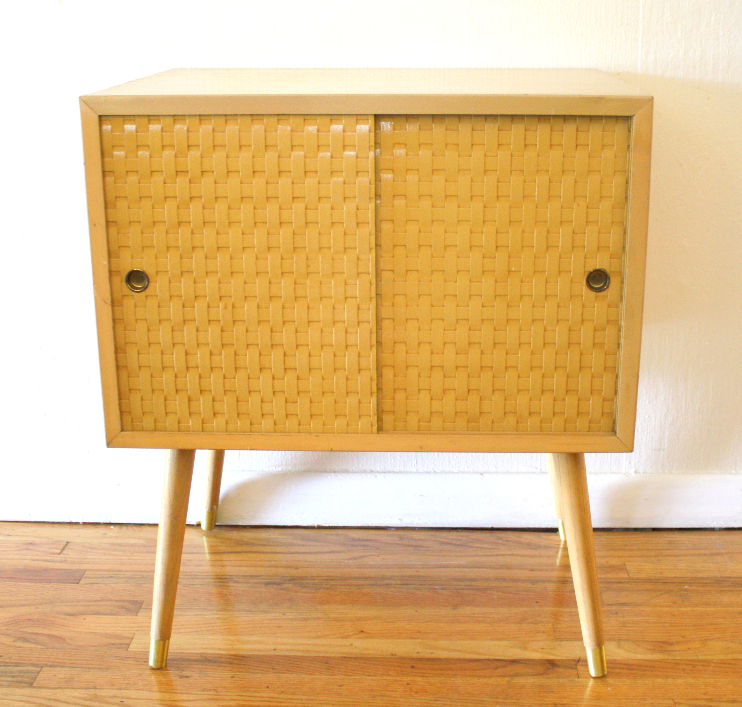 Mid Century Modern Side Table with Basket Weave Doors  : blond basket weave table1 from pickedvintage.com size 2519 x 2401 jpeg 2511kB