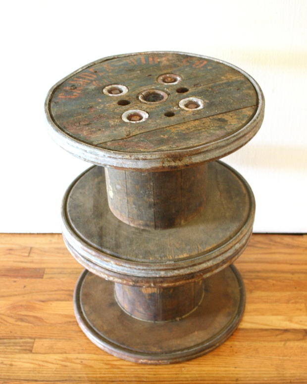 Antique Industrial Mini Spool Side Table Picked Vintage