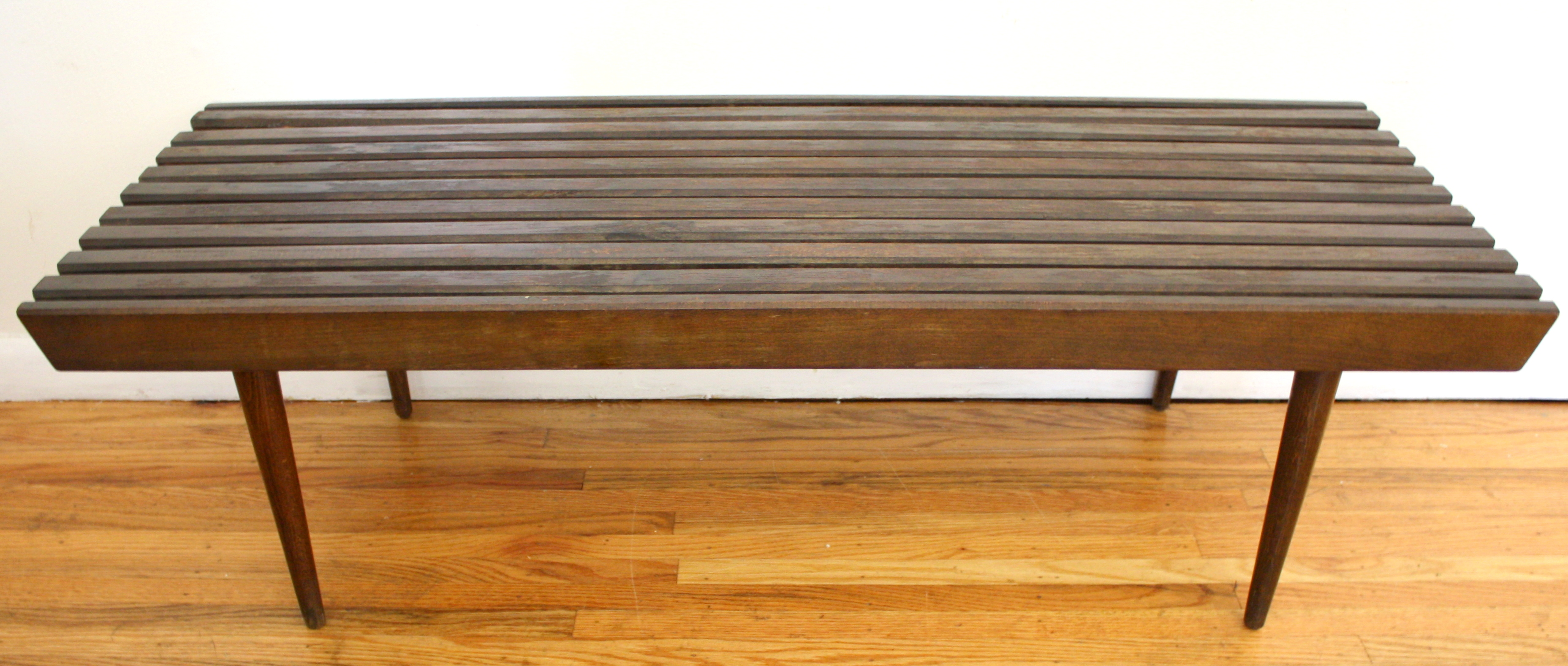 table pin wood slat coffee walnut bench century vintage mid reserved modern