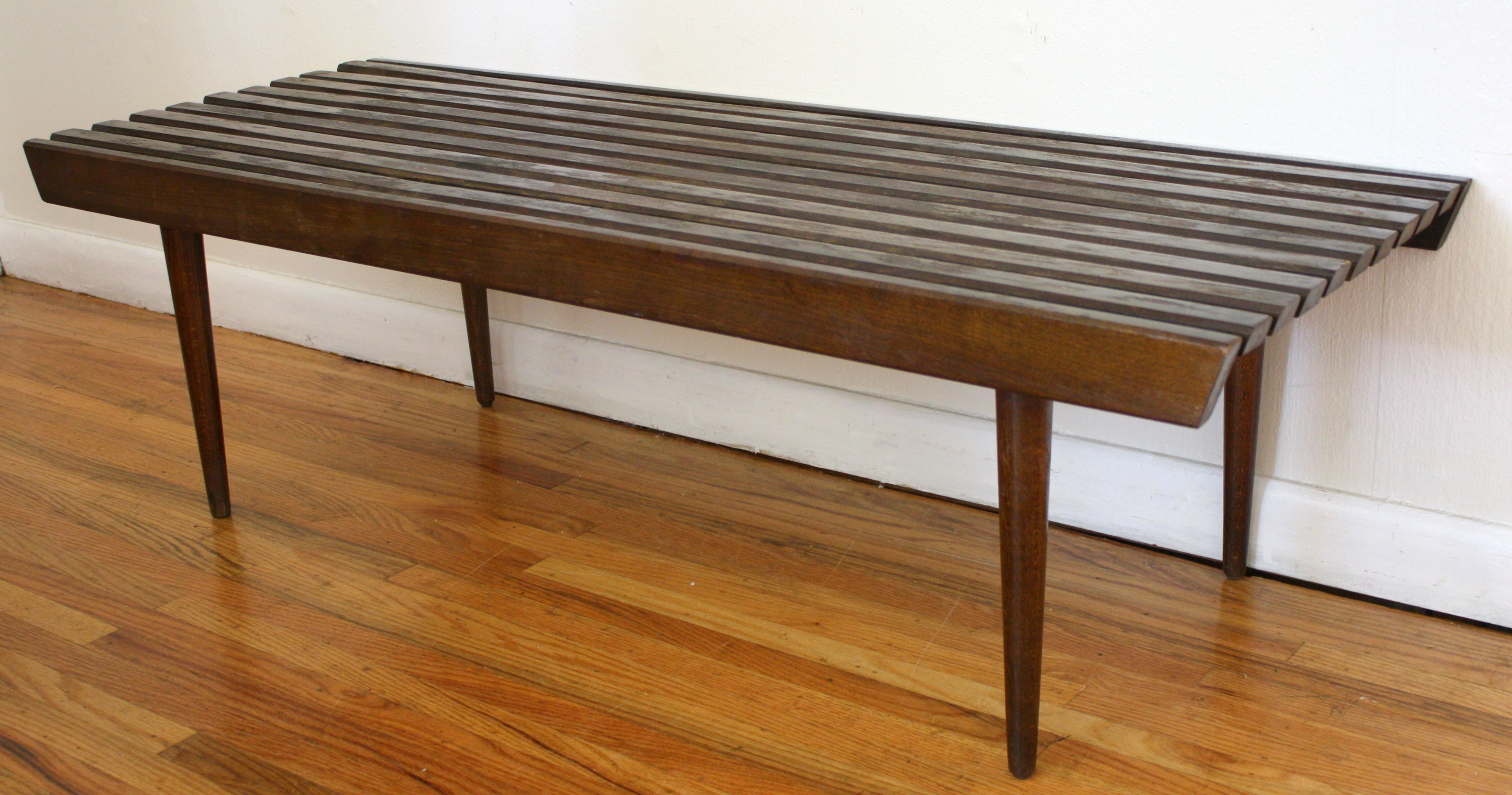 Mcm Dark Slatted Wood Bench 2 Picked Vintage