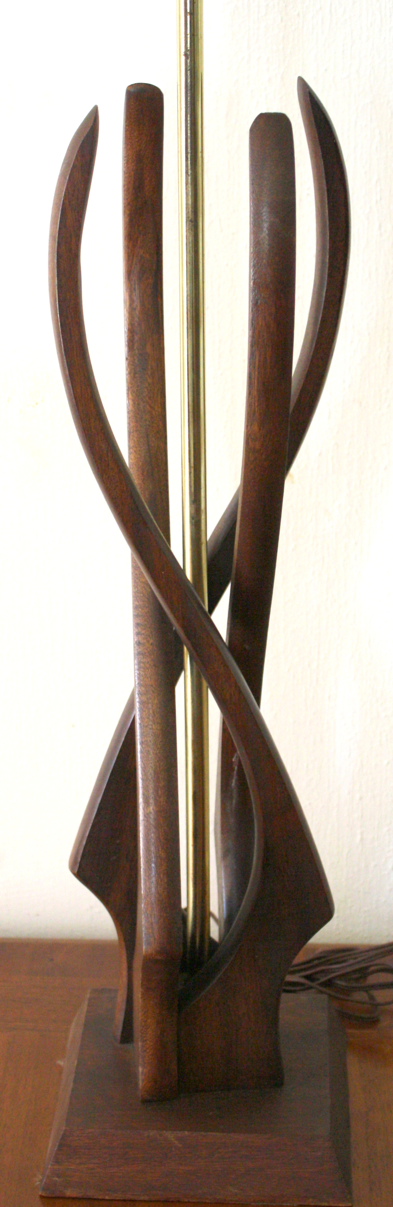mid century modern sculptural wood lamp and tulip lamps picked