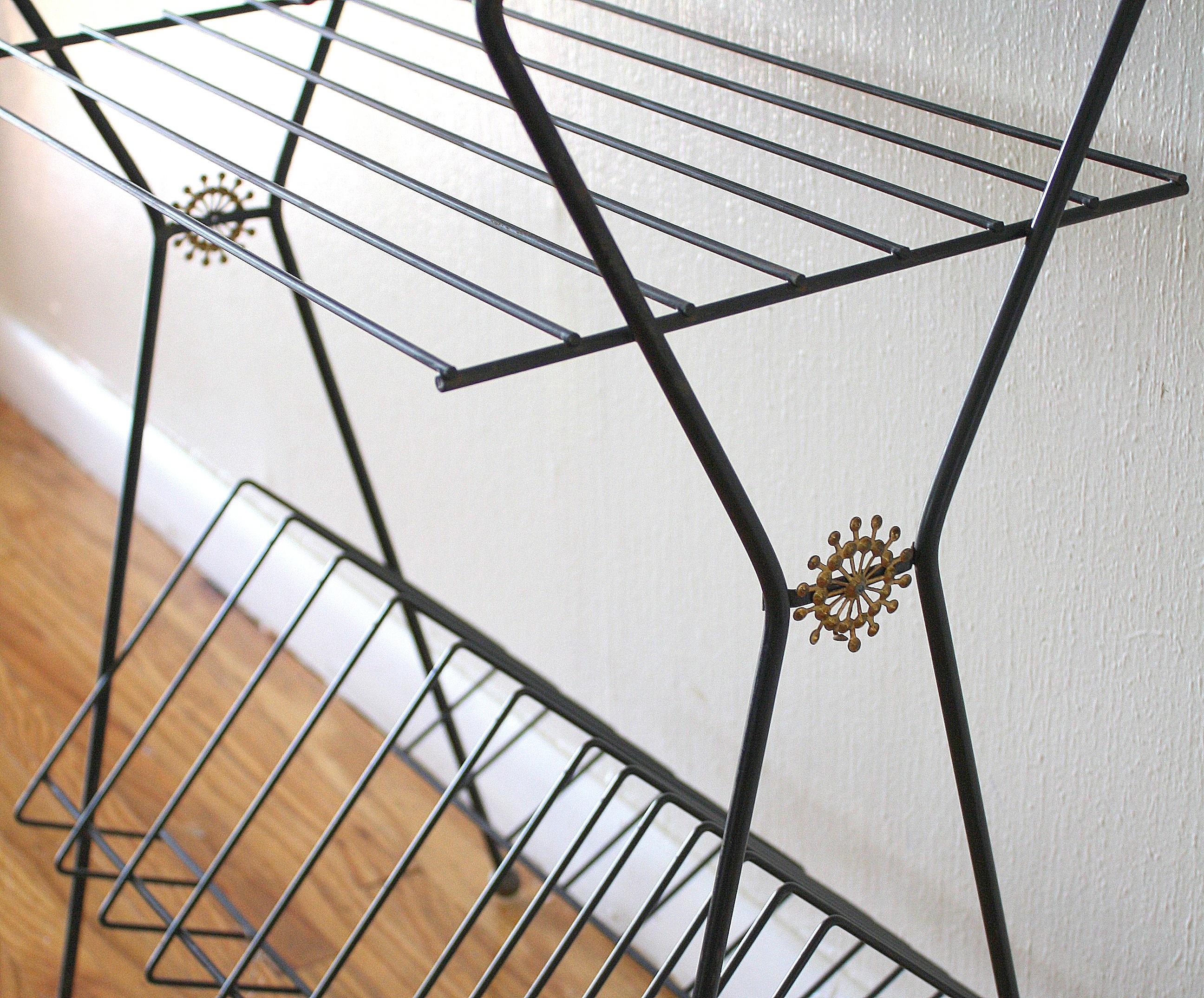 Mid Century Modern Record Rack With Sunburst Design