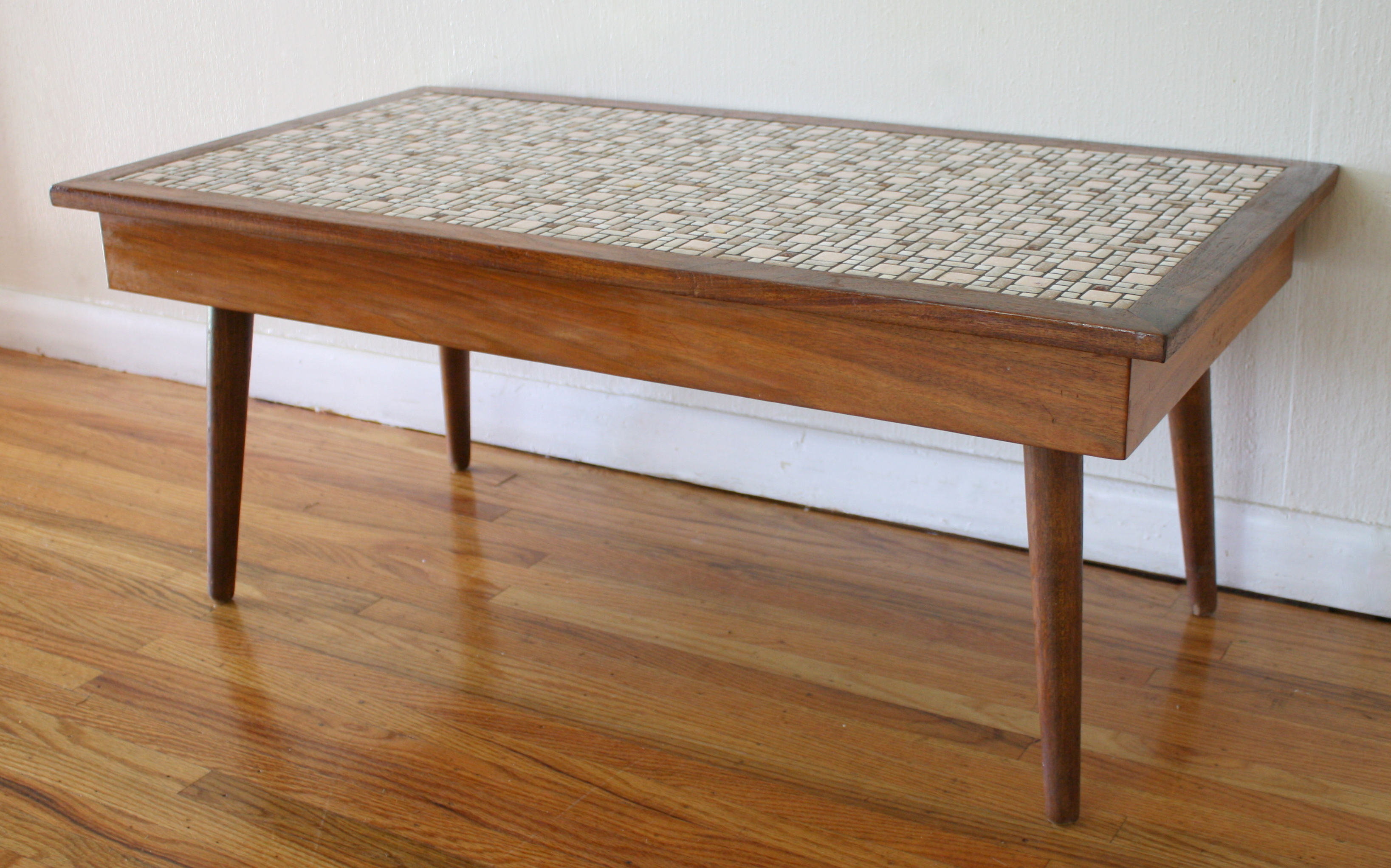 Mid century modern tile top coffee table picked vintage for Mid century modern coffee table