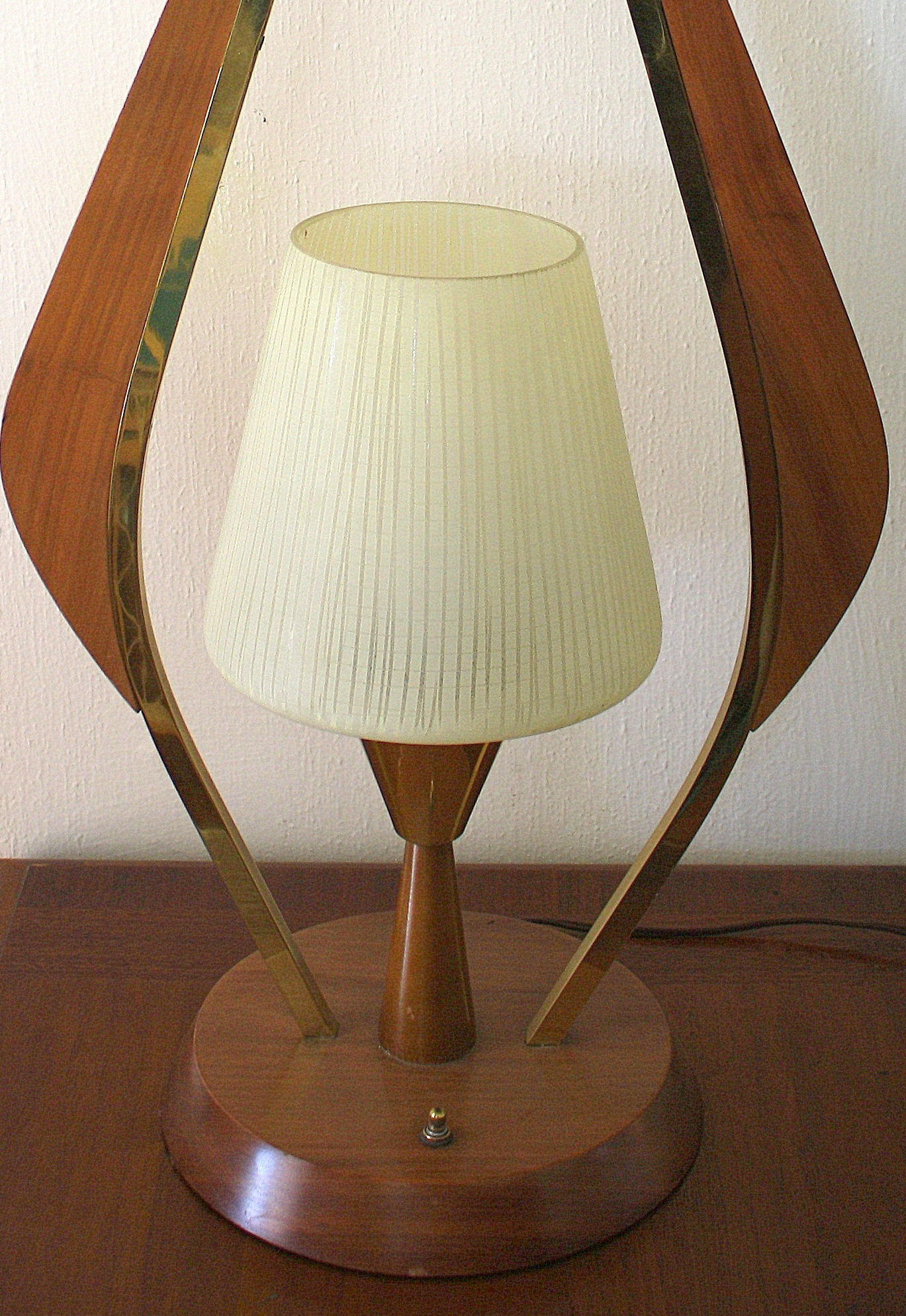 Mid Century Modern Teak And Brass Table Lamp Picked Vintage