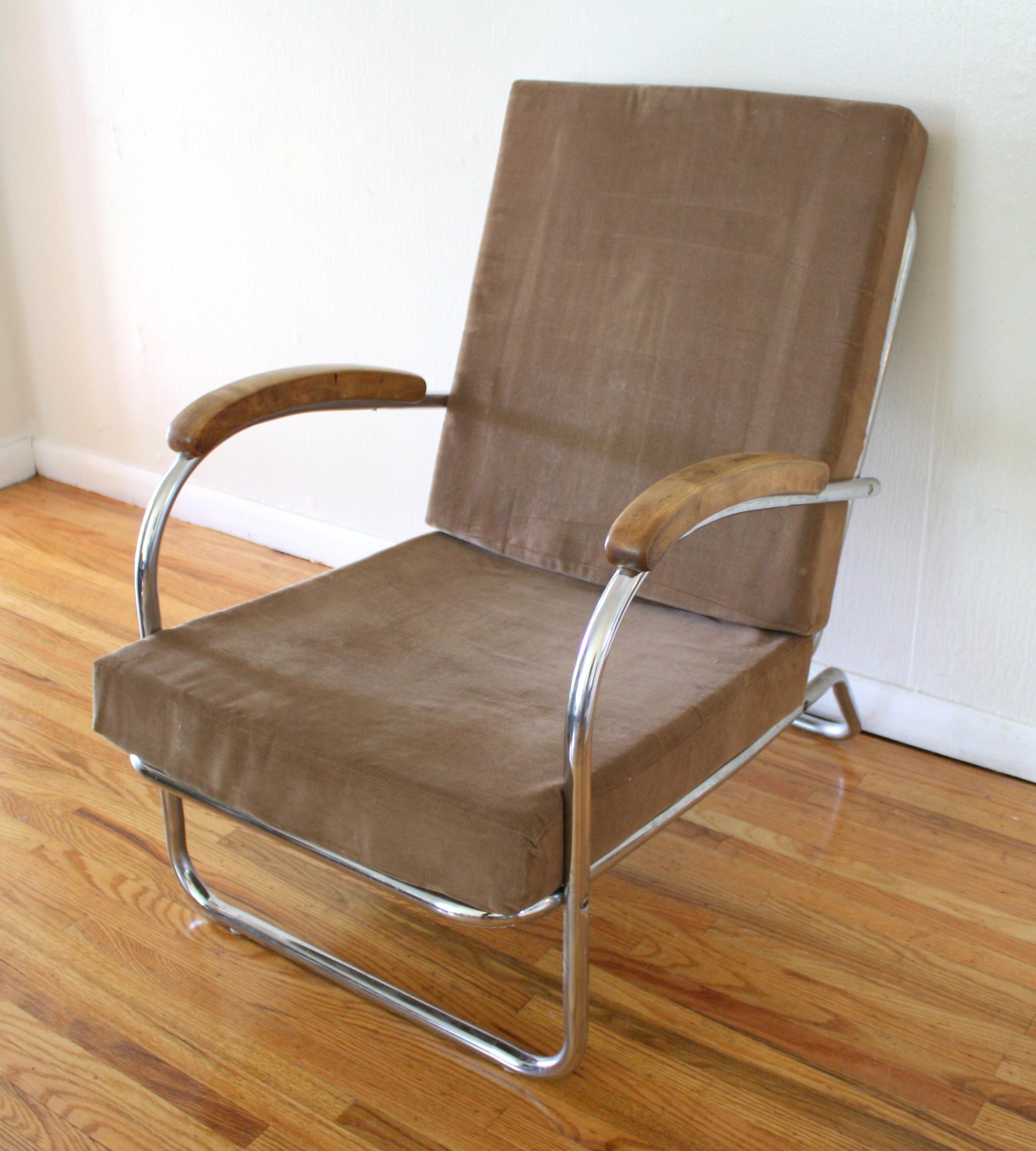 Mid Century Modern Chrome Lounge Chair Wolfgang Hoffman