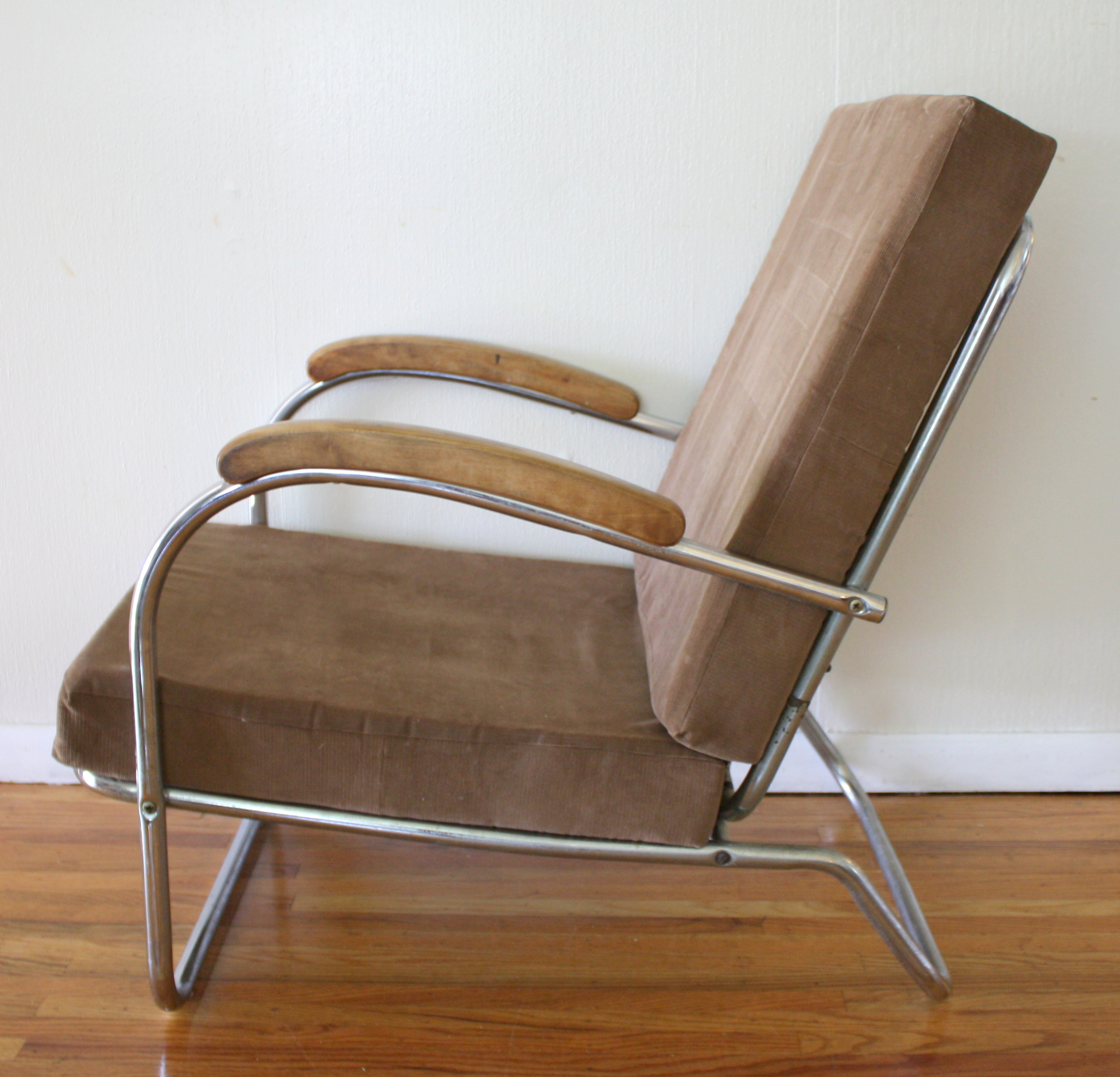 Mid Century Modern Chrome Lounge Chair Wolfgang Hoffman
