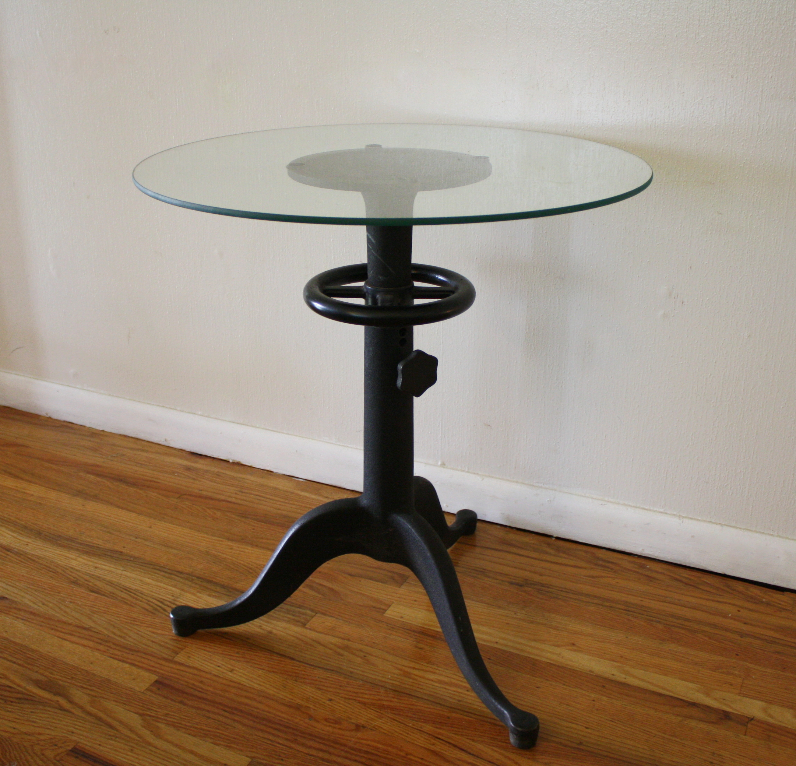 Antique cast iron table with glass top steampunk chic for Cast iron table with glass top