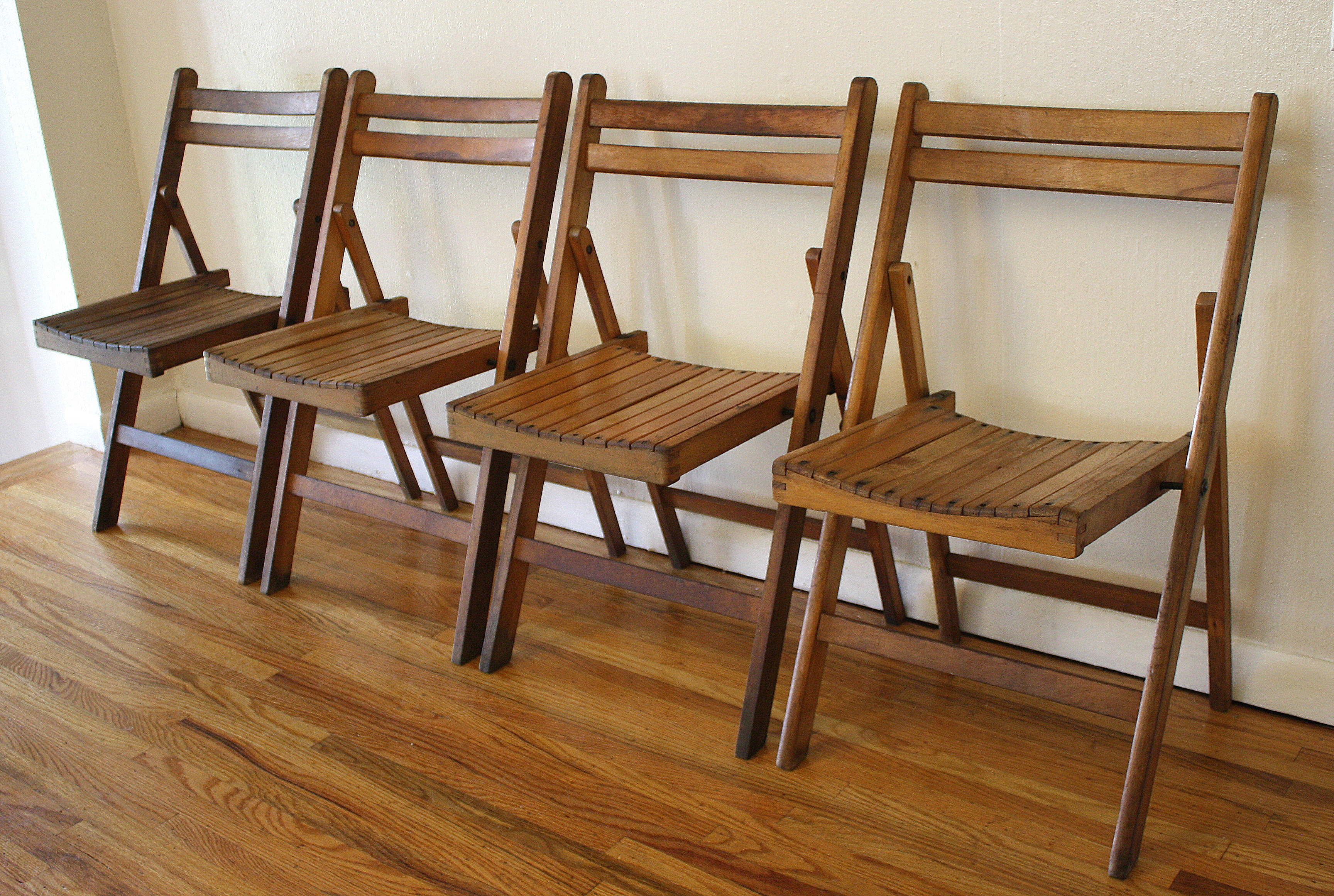 set of 4 antique slatted folding chairs