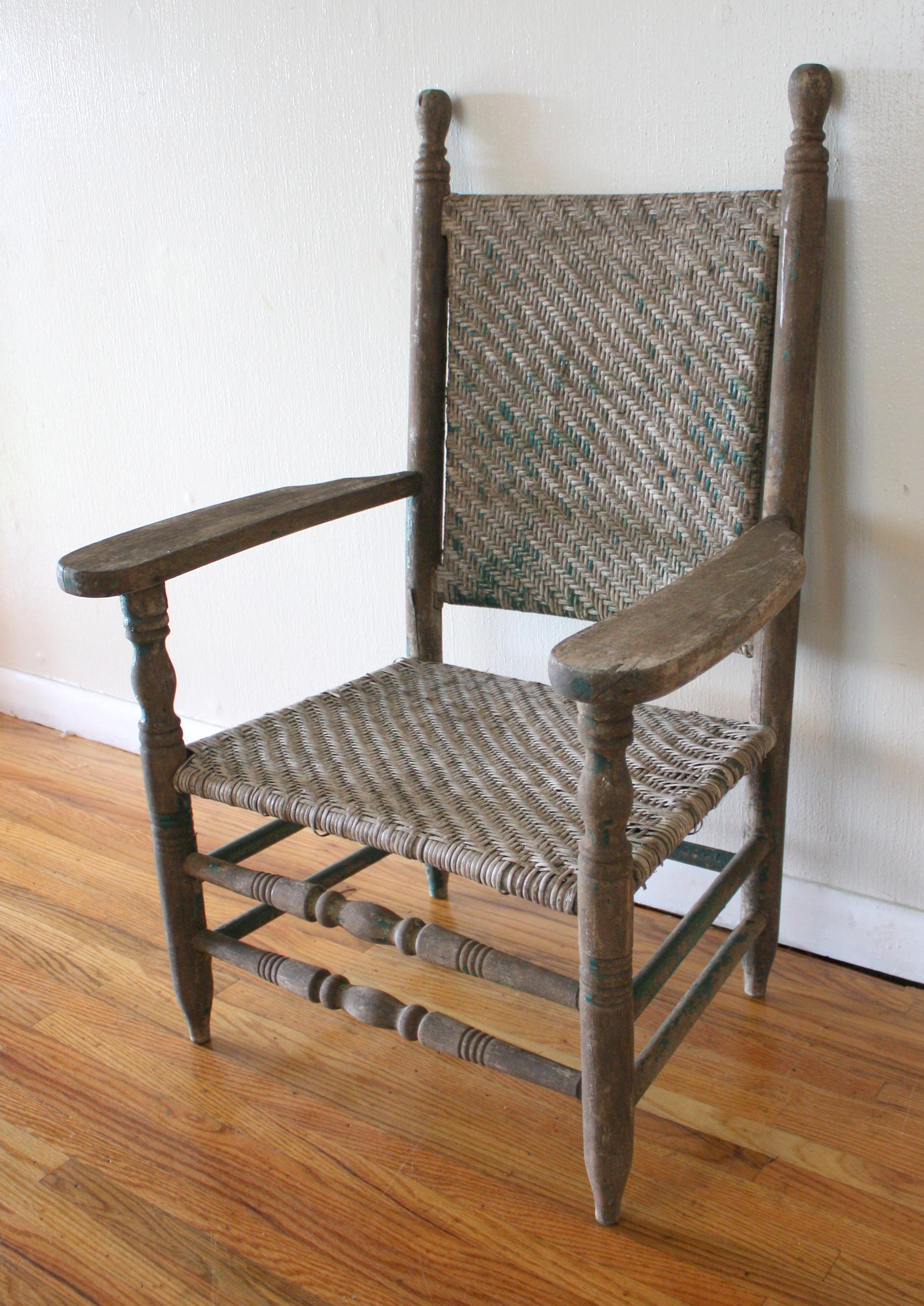 Antique Primitive Arm Chair Picked Vintage