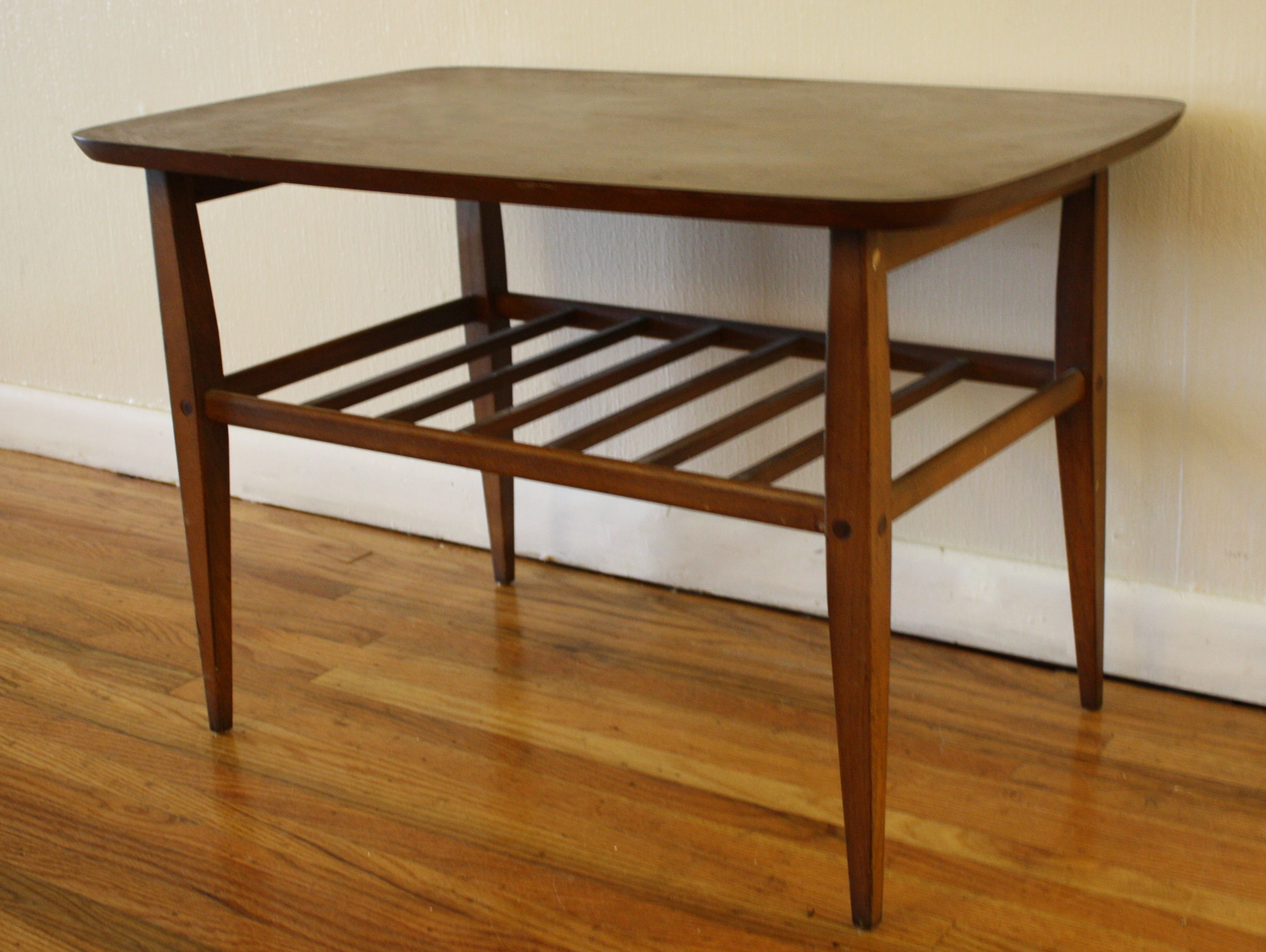 Mid century modern coffee and side table with slatted shelf picked vintage Coffee table and side table
