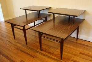 mcm formica two tiered tables 1