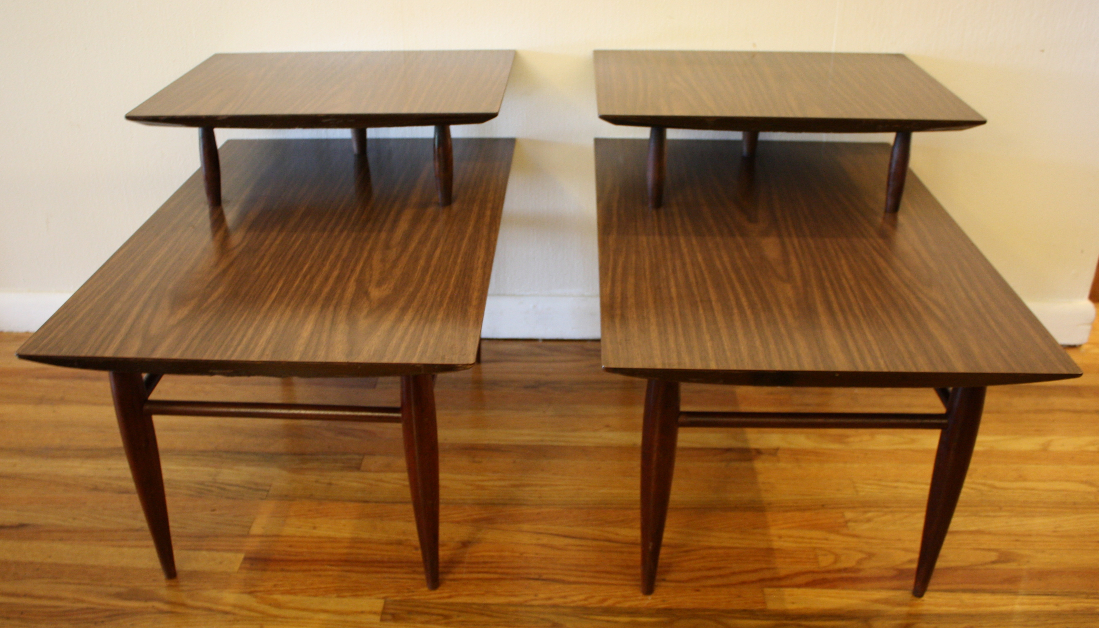 Mcm formica two tiered tables 2 picked vintage for Table formica