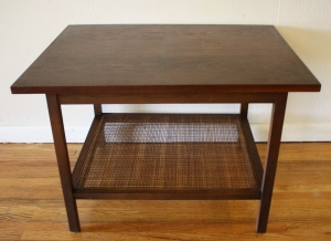 mcm Lane table with caned shelf 2