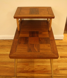 mcm parquet two tiered side table 2