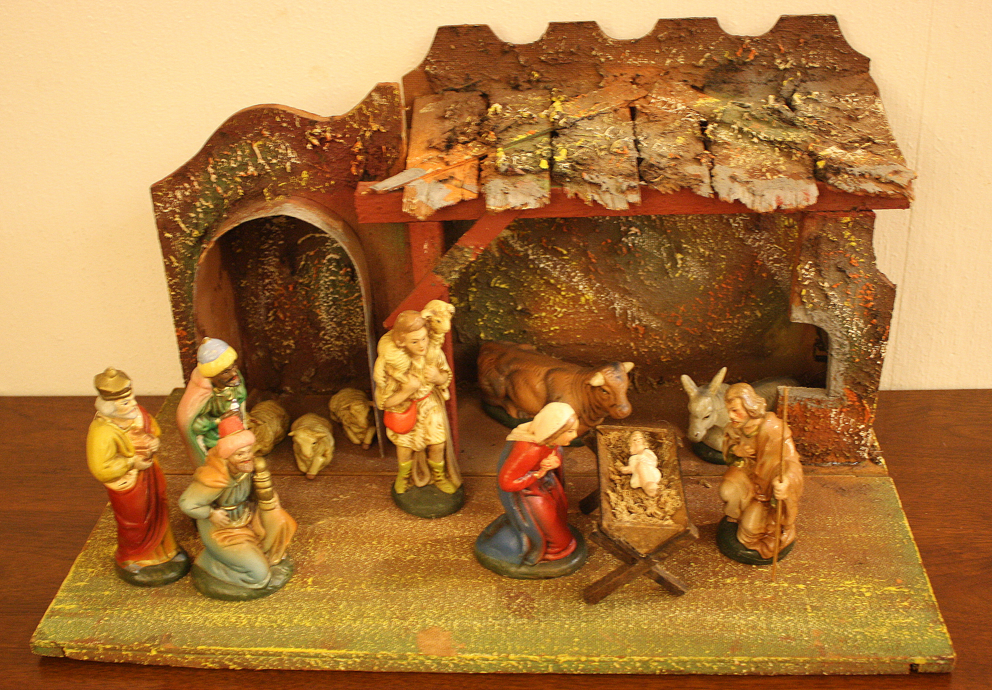 Vintage Papier Mache Nativity Scene Made In West Germany