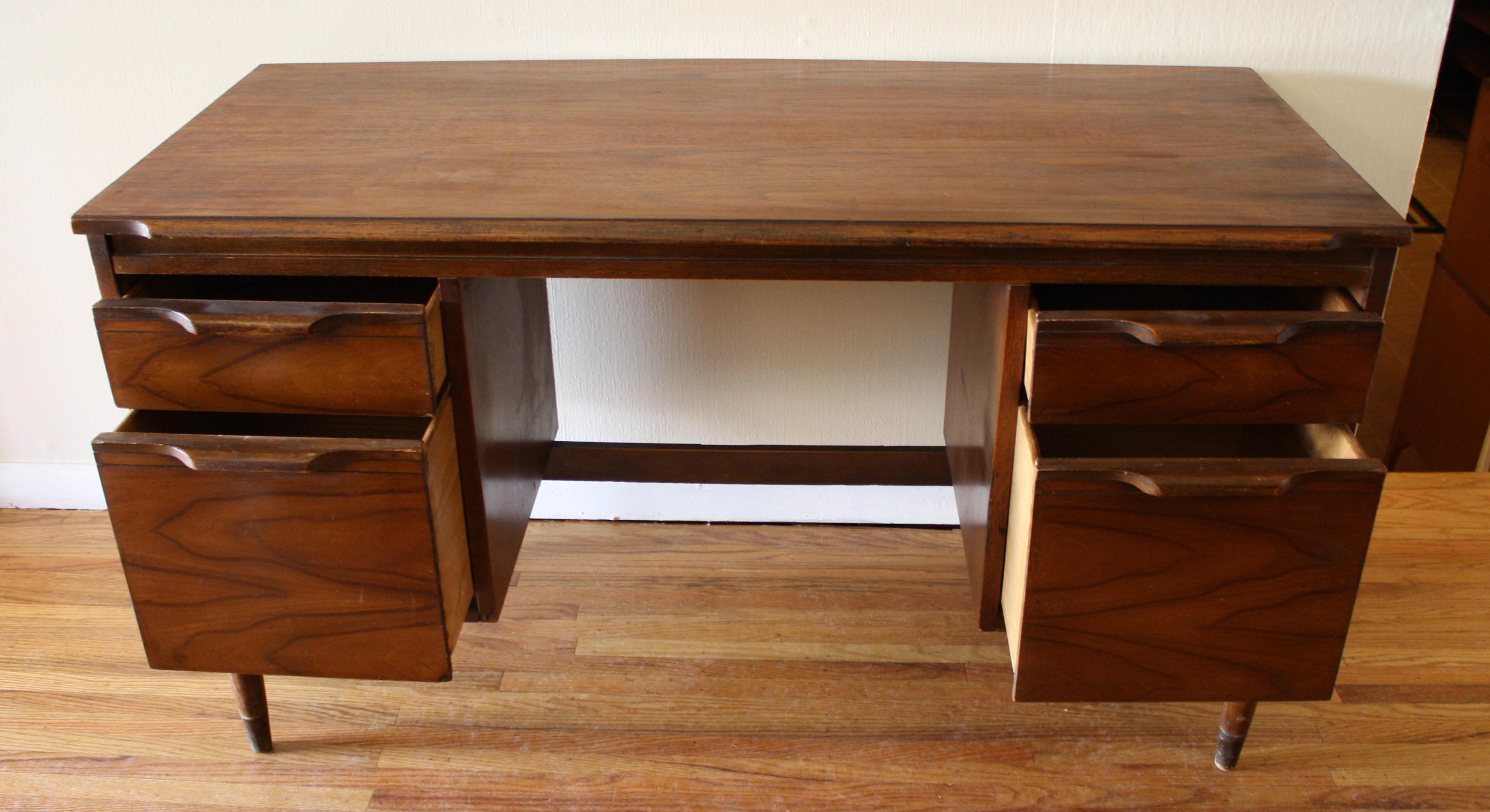 Mid Century Modern Executive Desk Picked Vintage