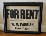 Antique PA rent sign