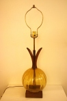Mcm teak and glass lamp